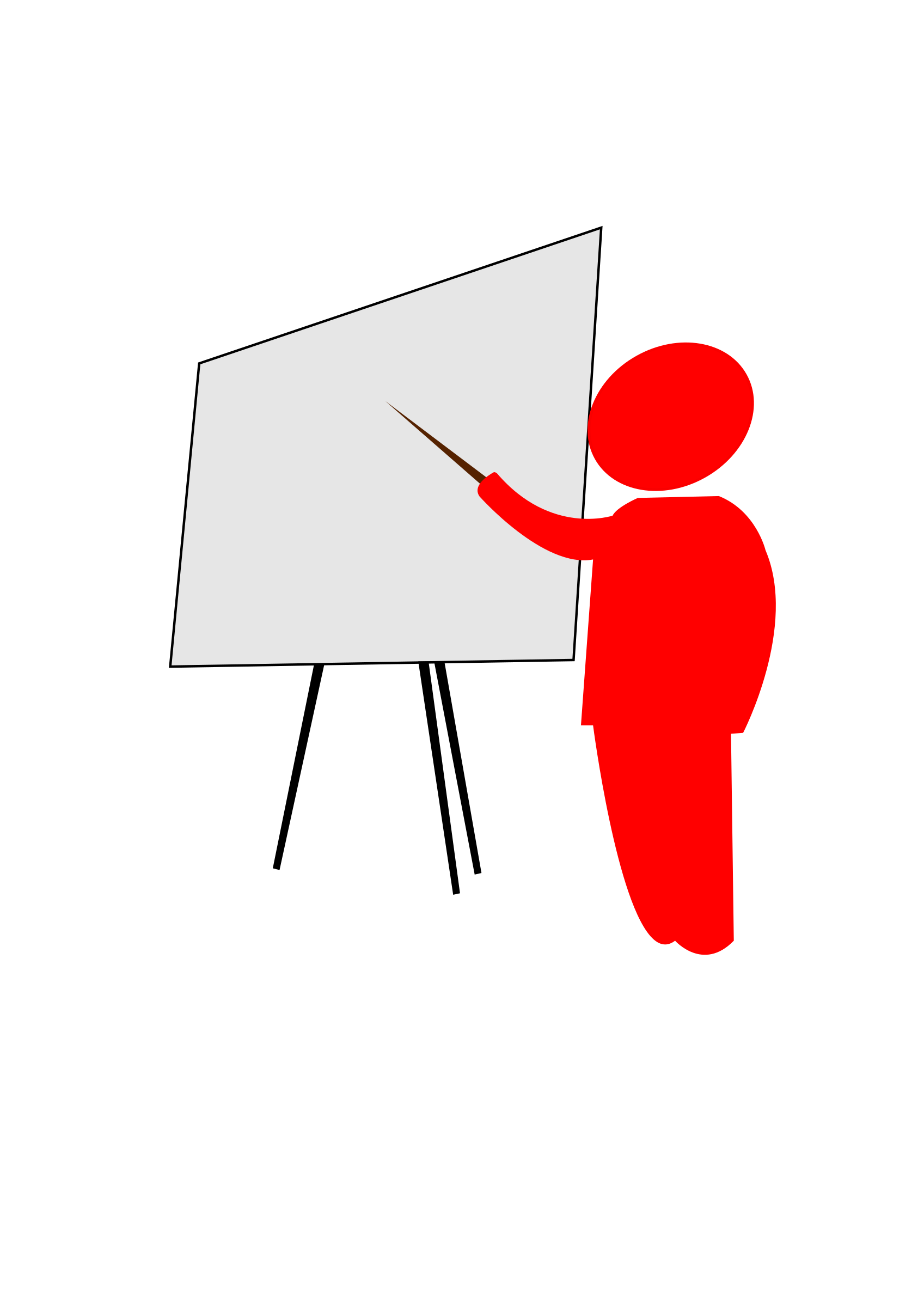 Clipart - teacher explains pointing to the blackboard