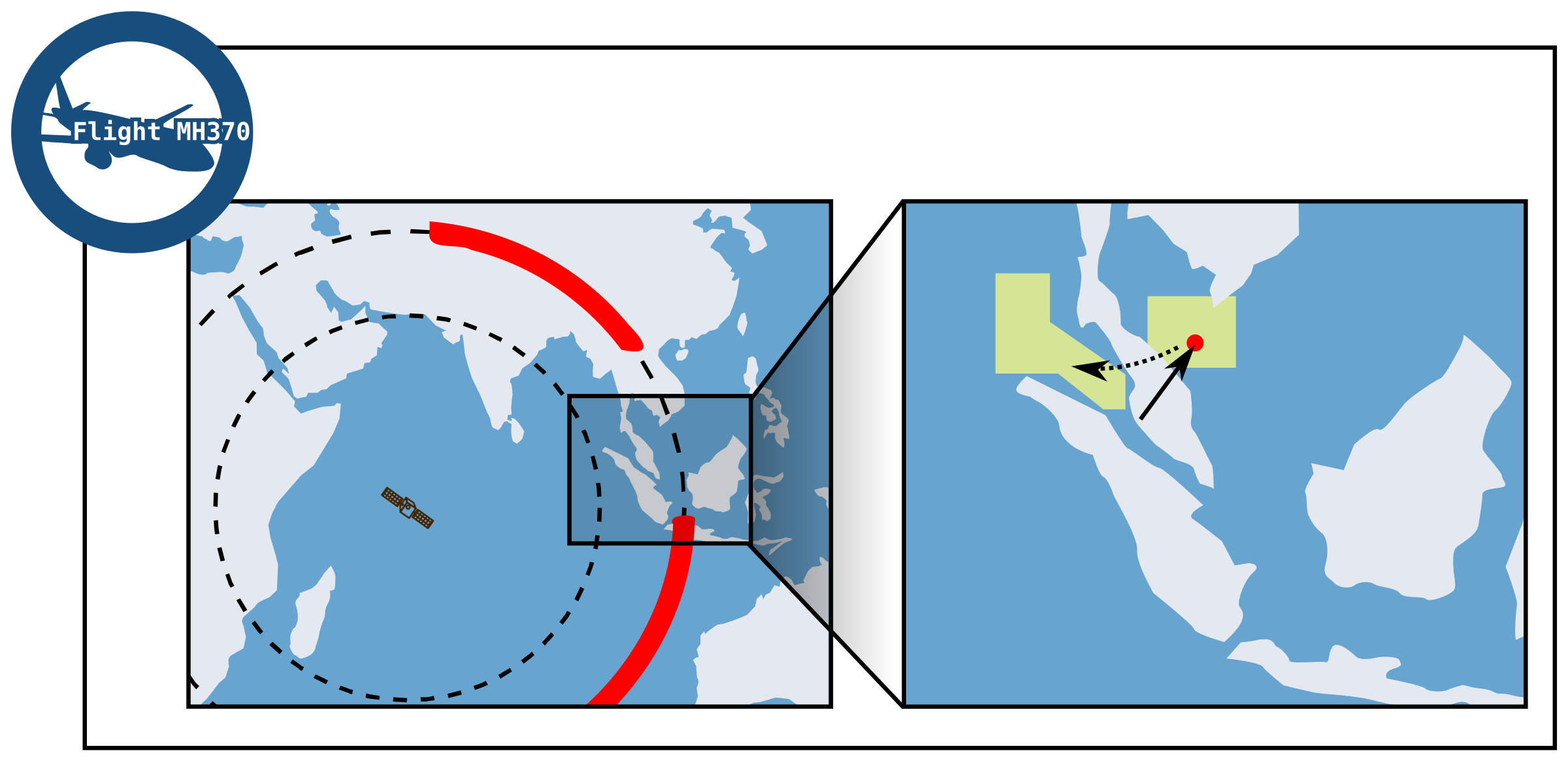 Search Area Malaysian flight MH 370  by Last-Dino