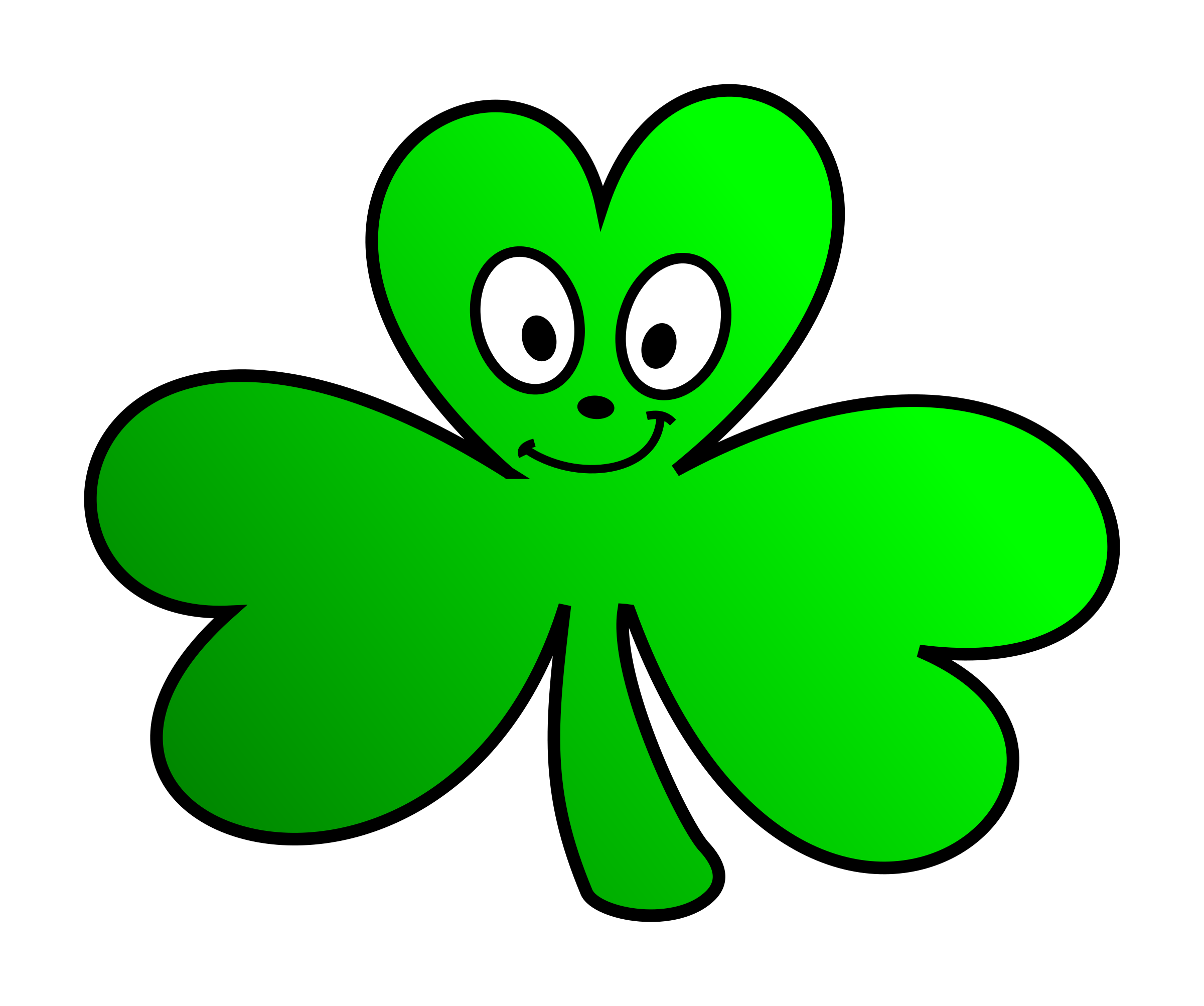 Green Shamrock Cartoon Face by KAMC