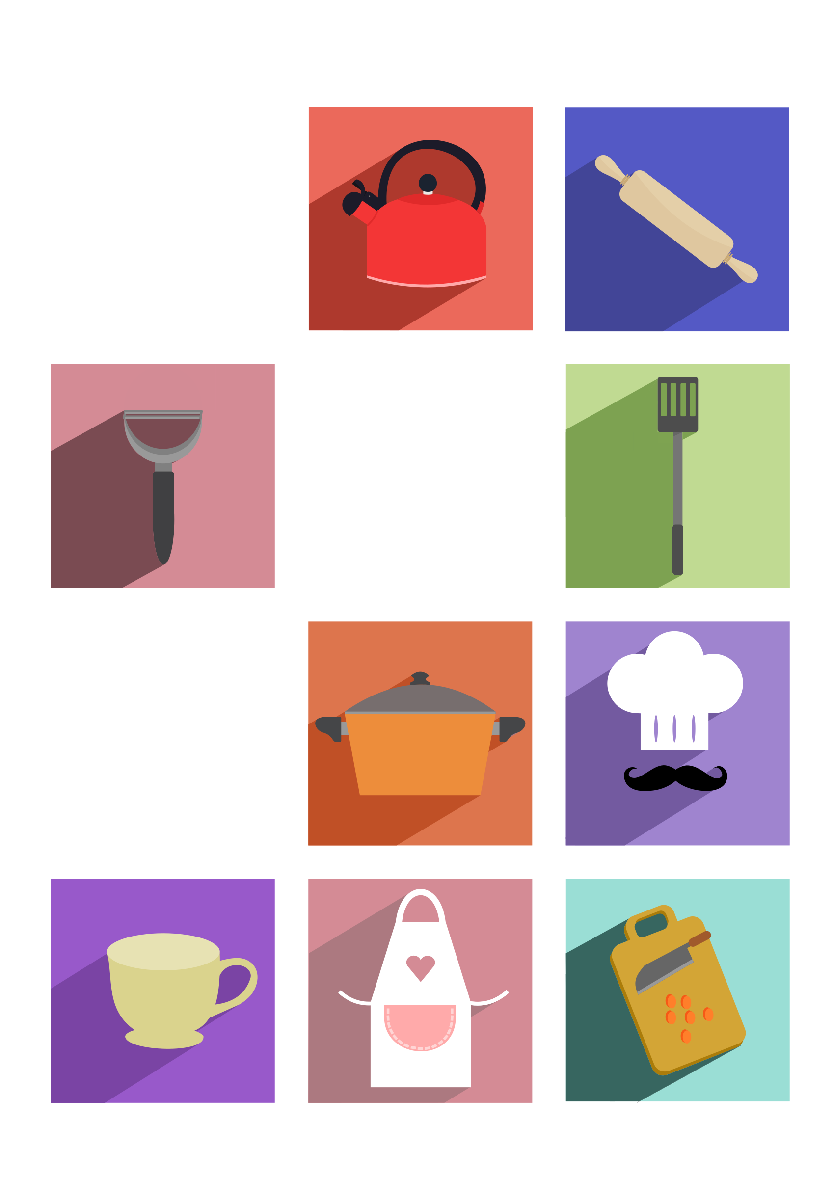Cooking Utensils Long Shadow Icons by logoscambodia