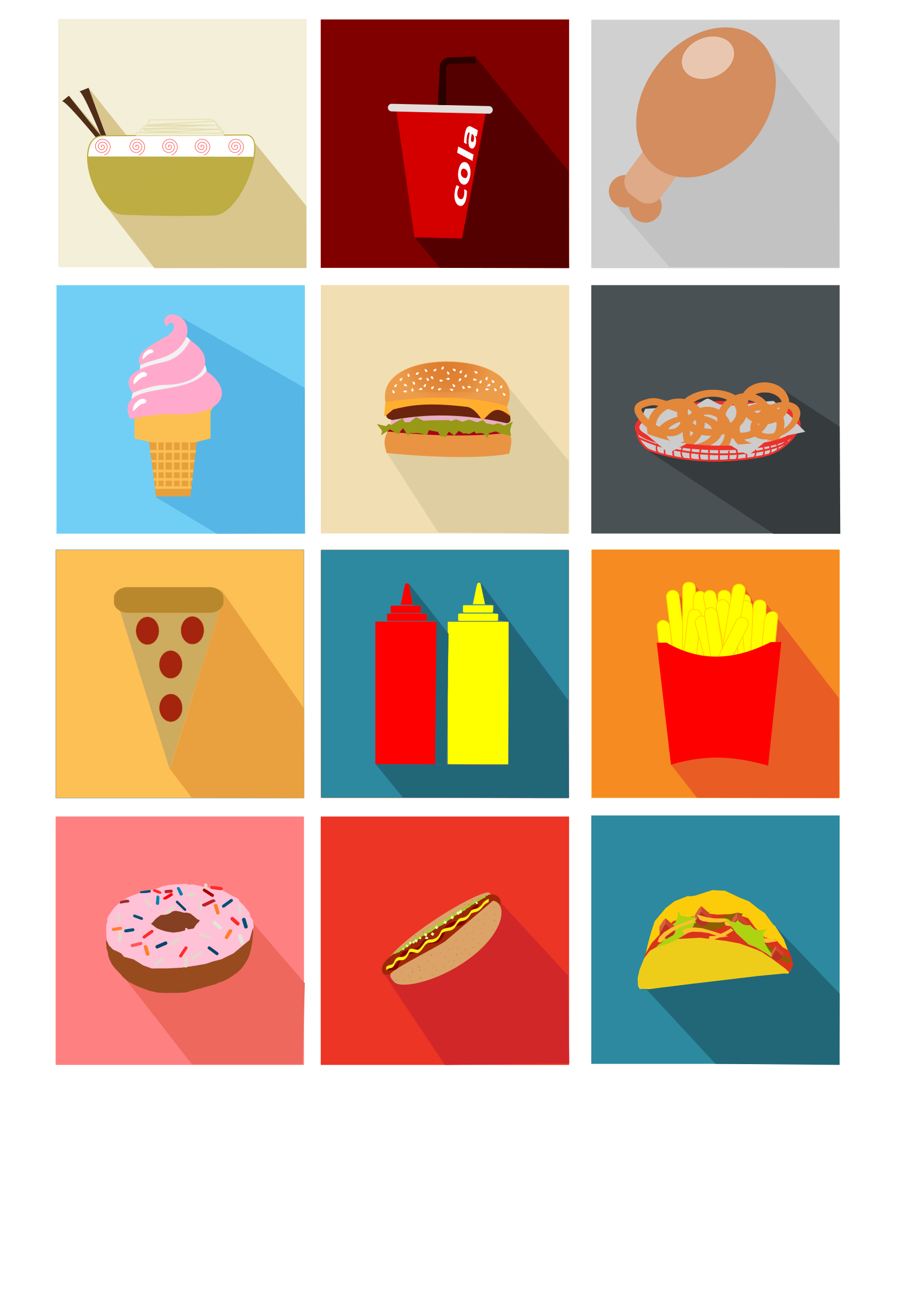 Fast Food Long Shadow Icons by logoscambodia