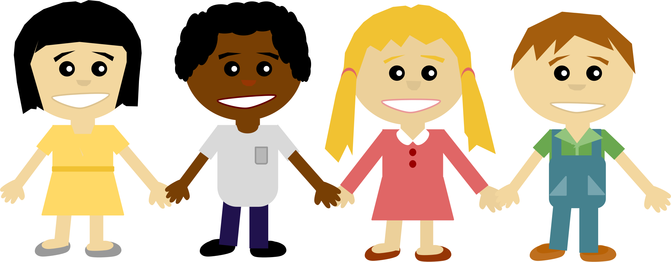 Children holding hands by Carlene