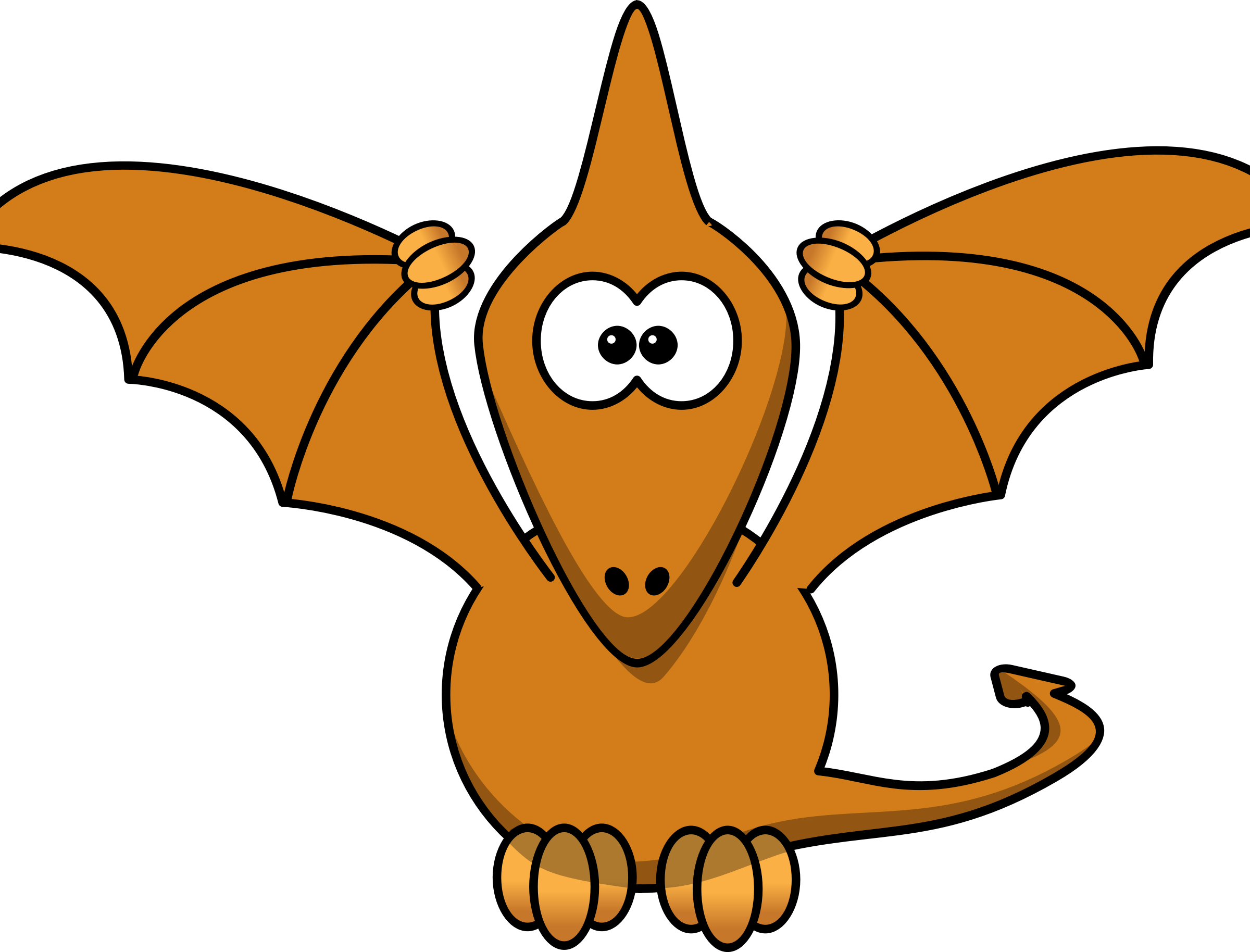 Cartoon pterodactyl with upraised wings by anarres