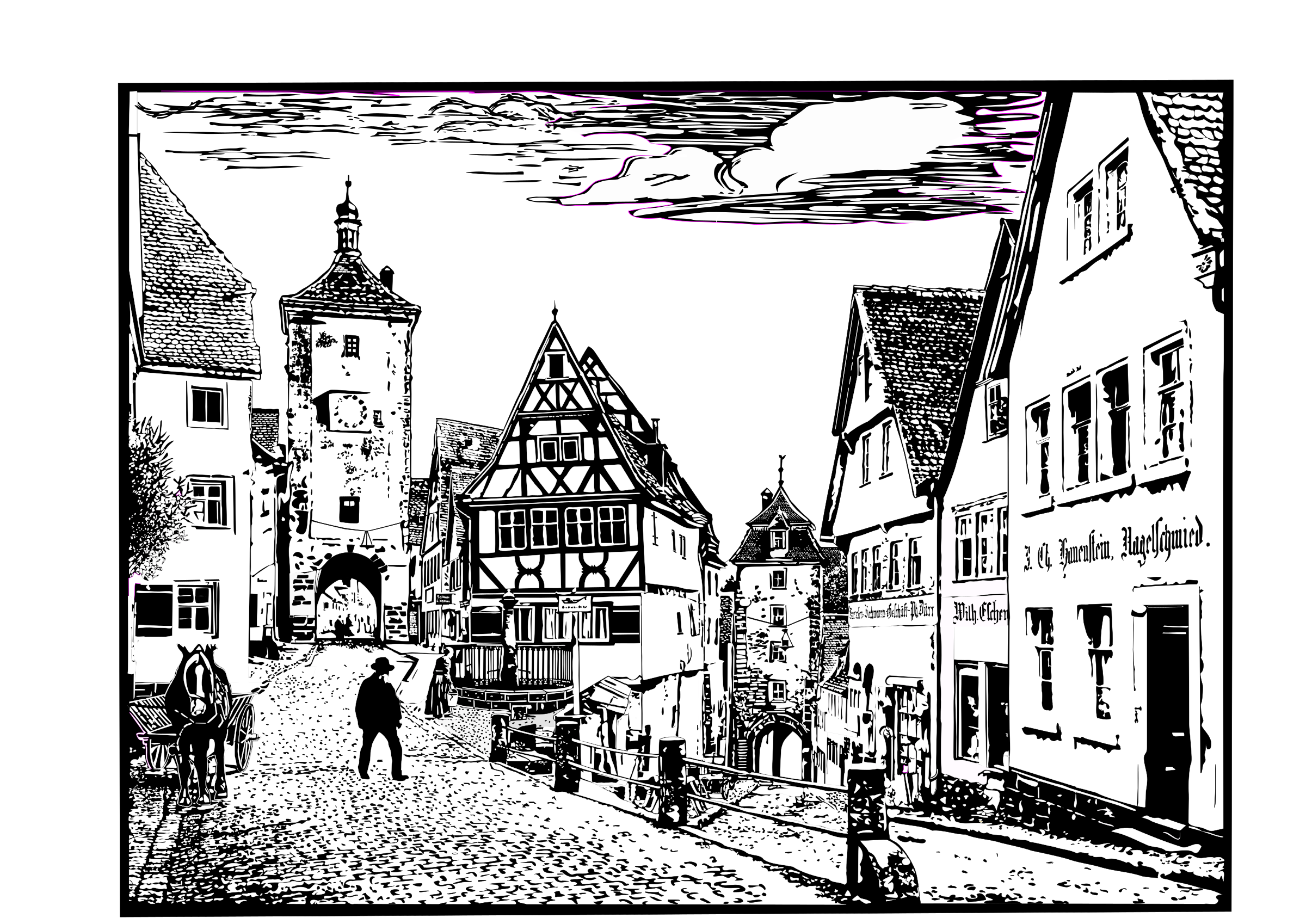Cityscape of Rothenburg, Germany by Helm42