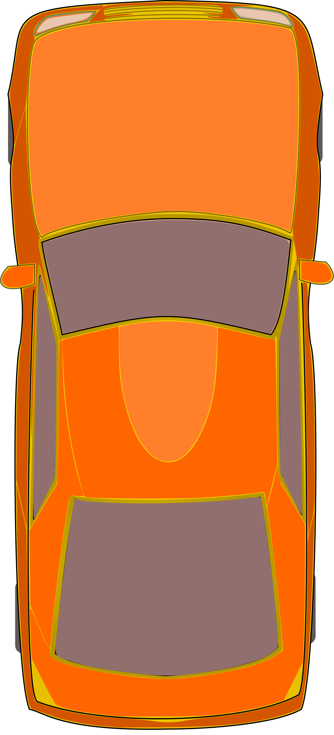 Orange Car (Top View) by DevynCJohnson