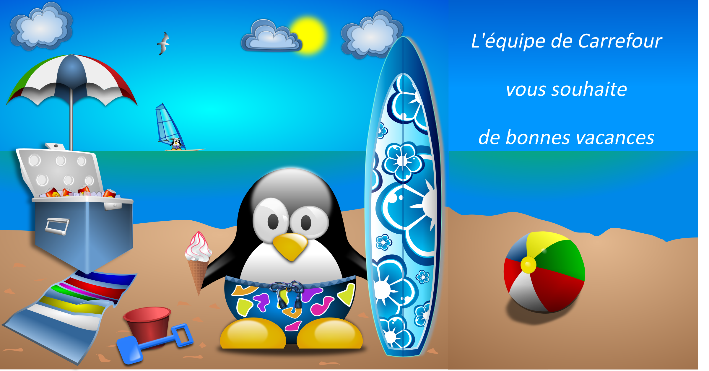 Tux-at-the-Beach-by-Merlin2525-remix-vacances by acotte