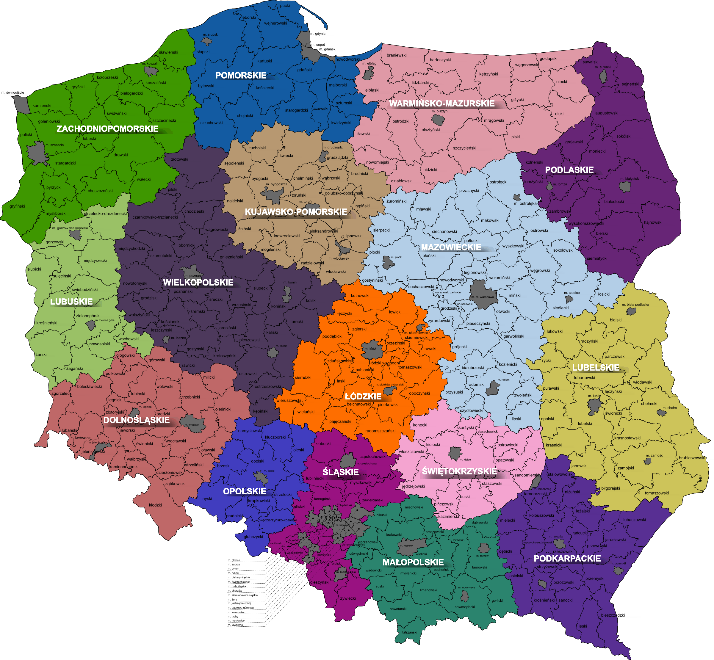 Poland, voivodeship, district by sun ny