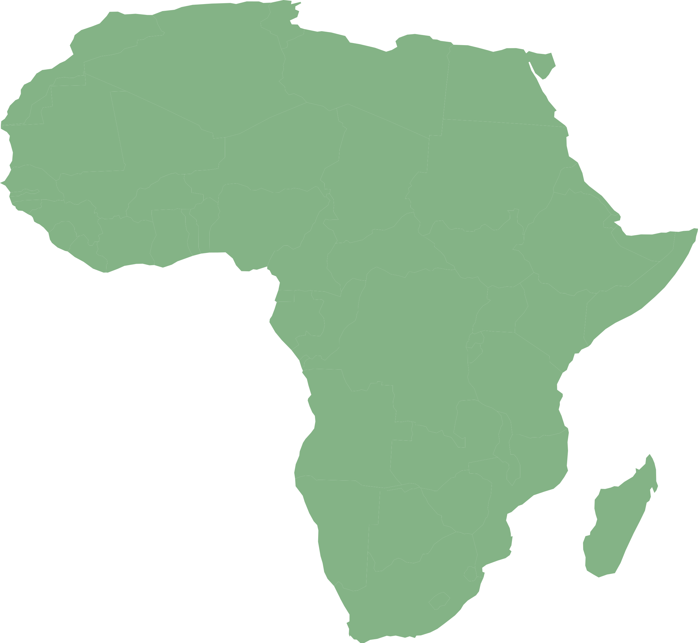 Map of Africa with countries in cylindrical equal area projection by Suzana_K