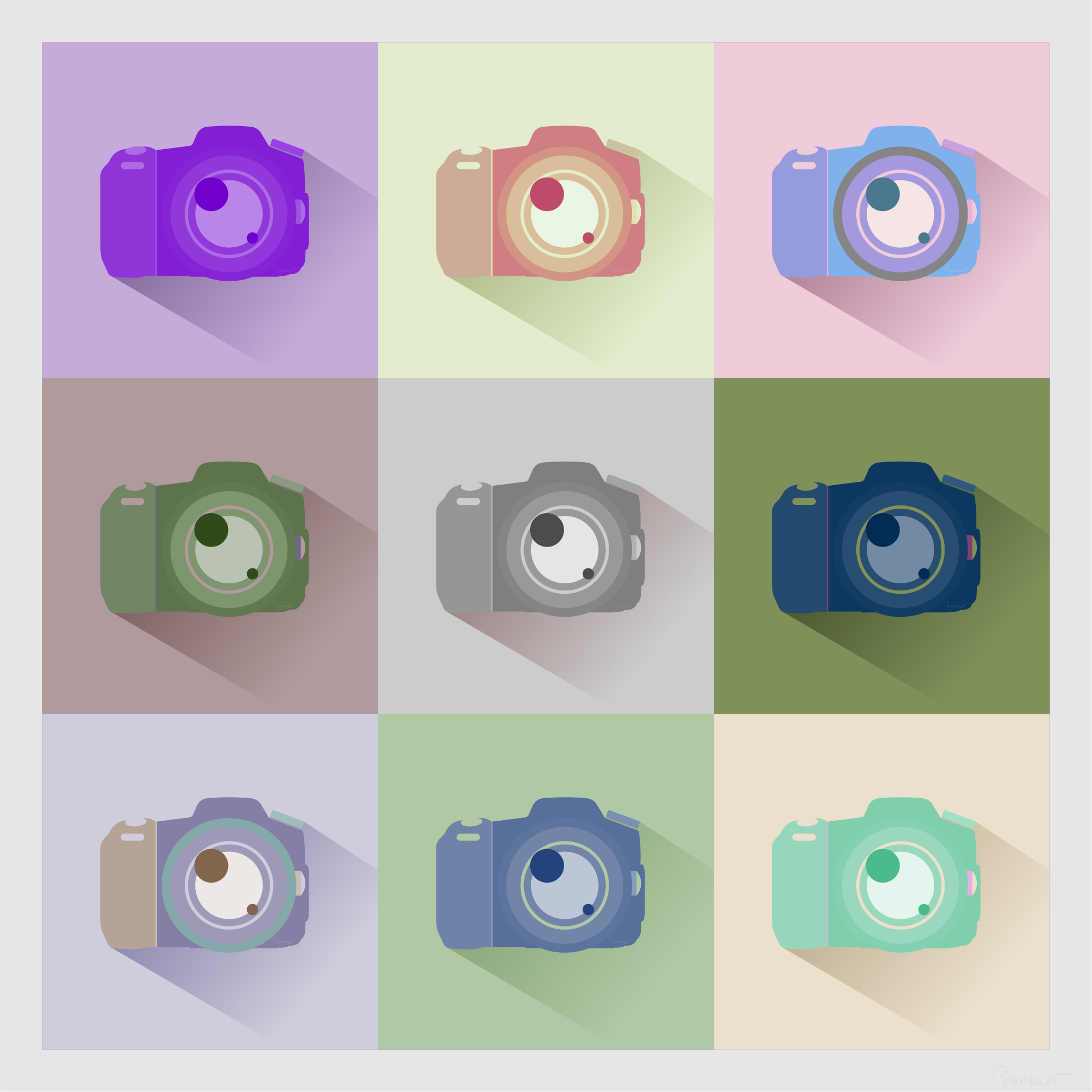 SLR Digital Camera Icons Inverted Color Study by barrettward