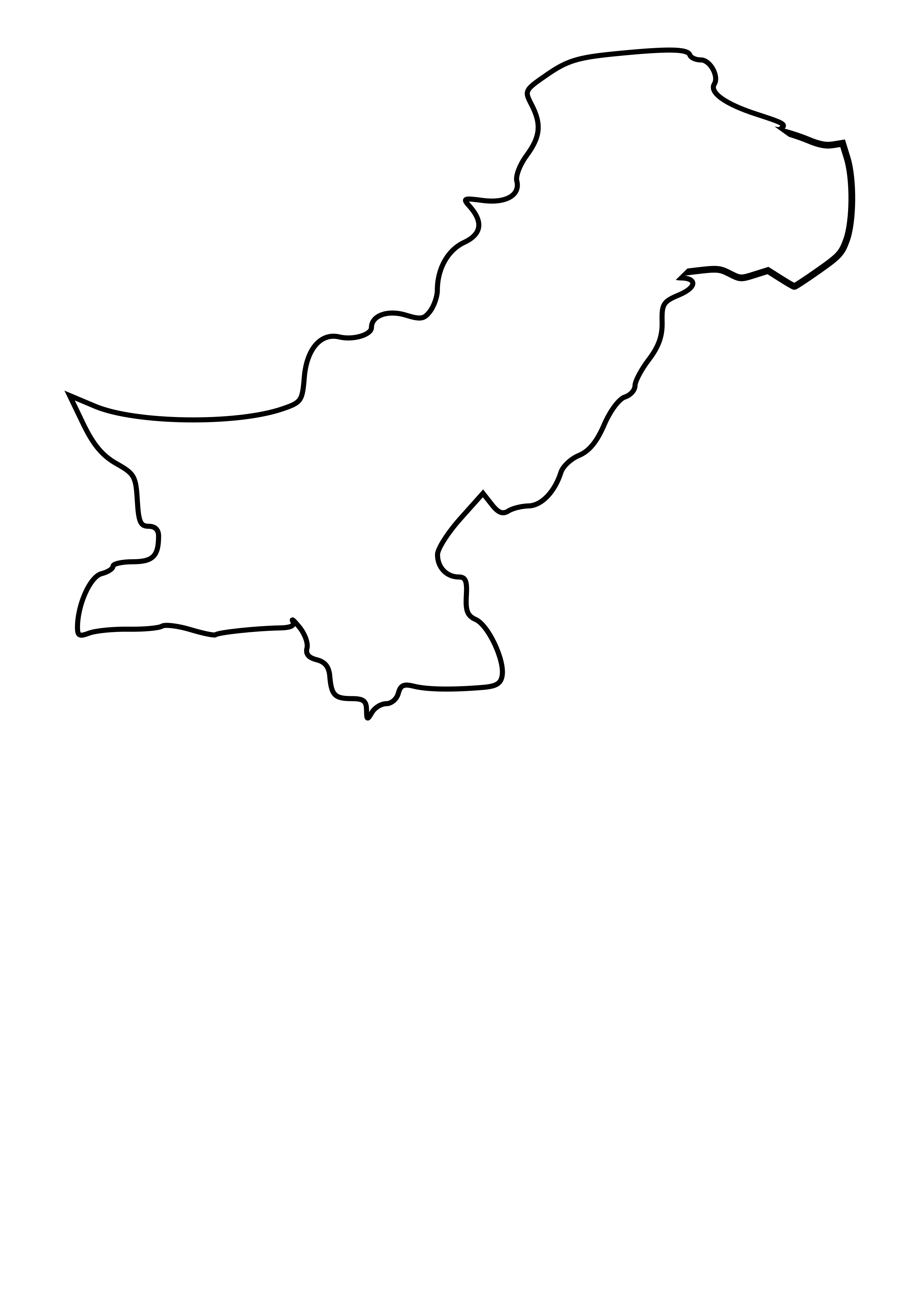 Black outline map of Pakistan by taughtware