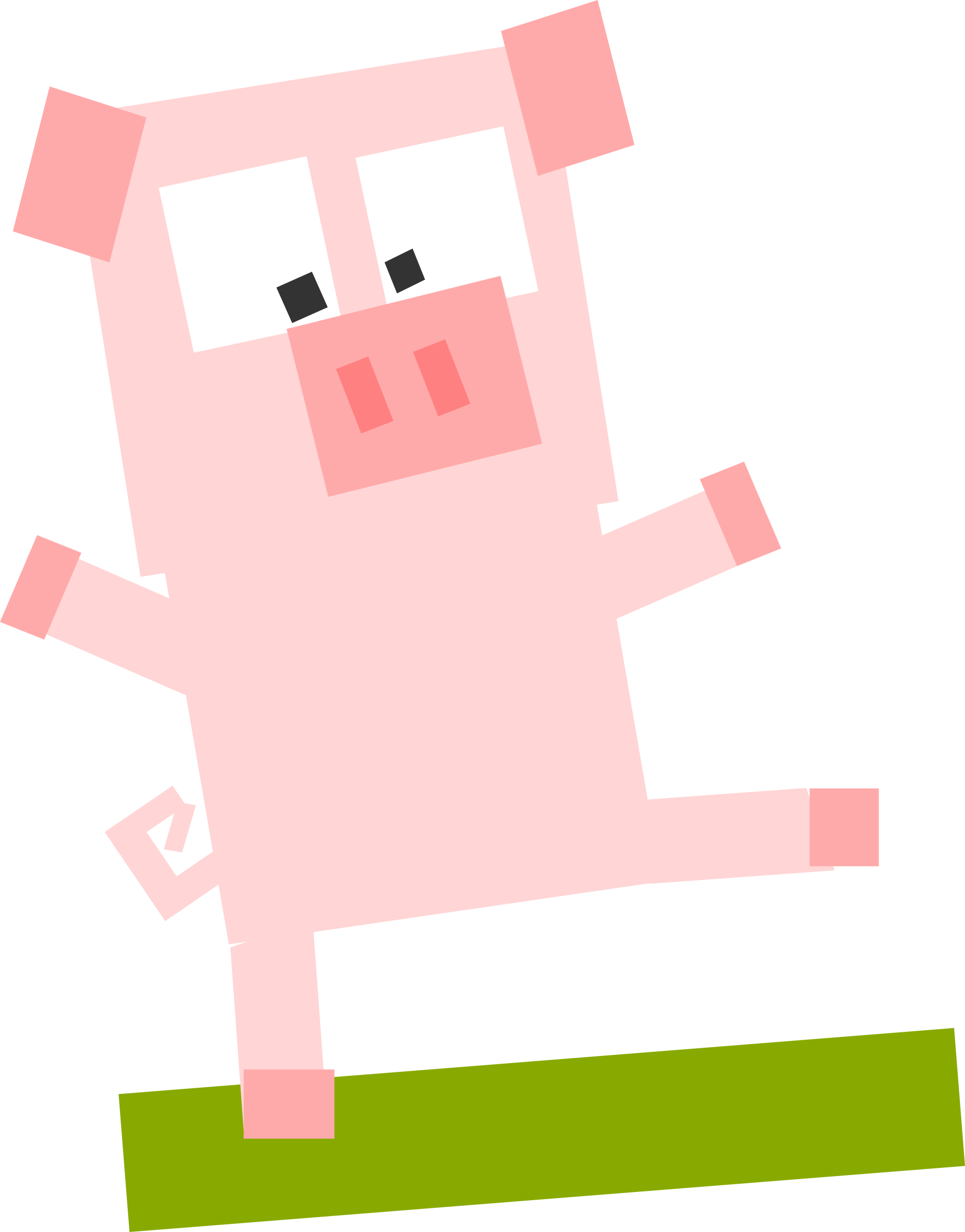 Square animal cartoon pig by Dog99x