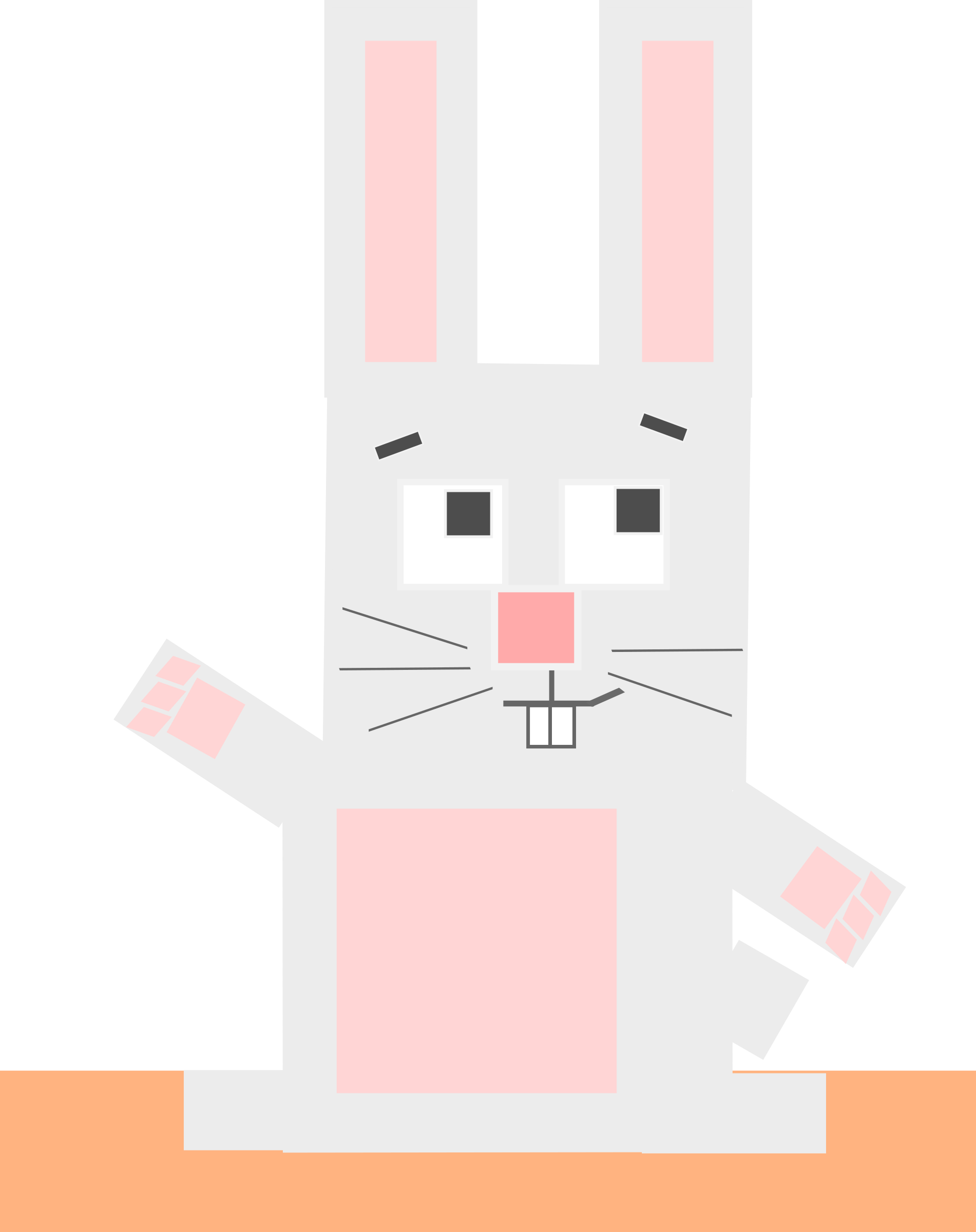 Square animal cartoon rabbit by Dog99x