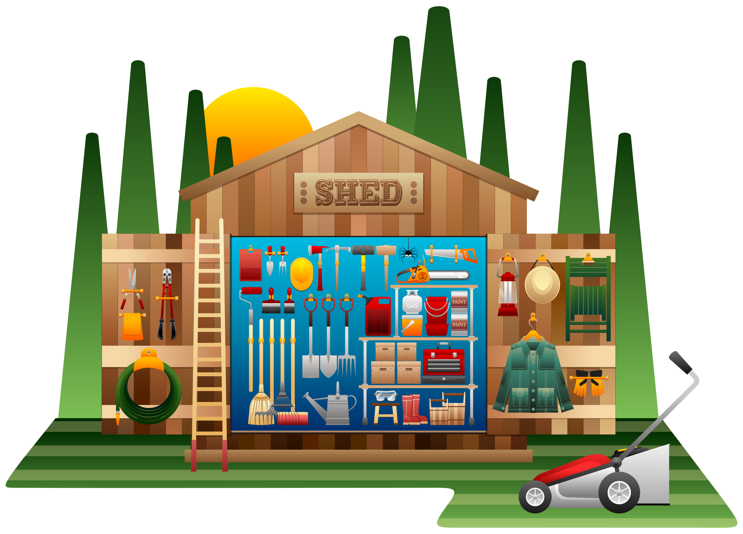 Clipart shed for Tools for backyard gardening