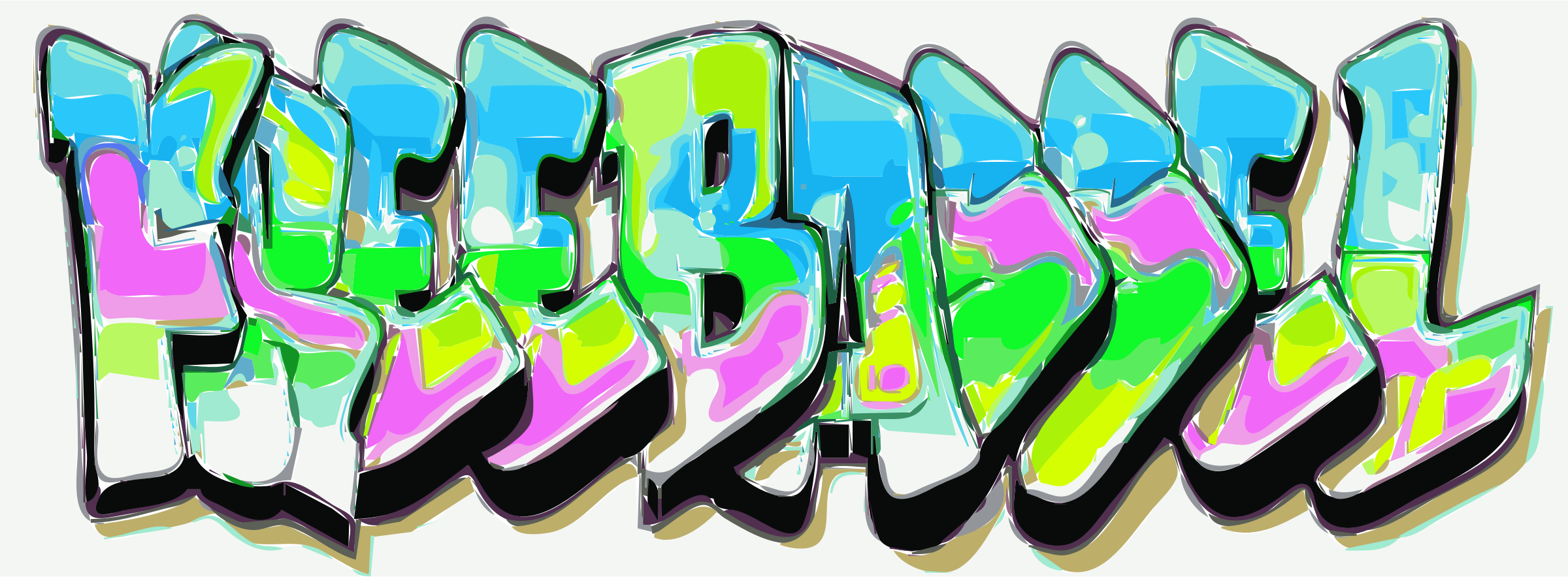 Freebassel Graffiti Text for Day 885 In Living Colour by rejon