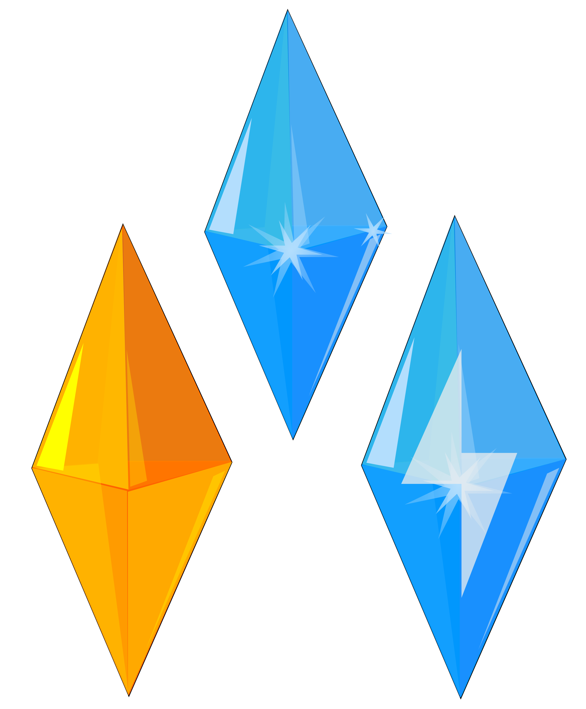 Crystal gems - Glittering Blue & Yellow precious gems by monsterbraingames