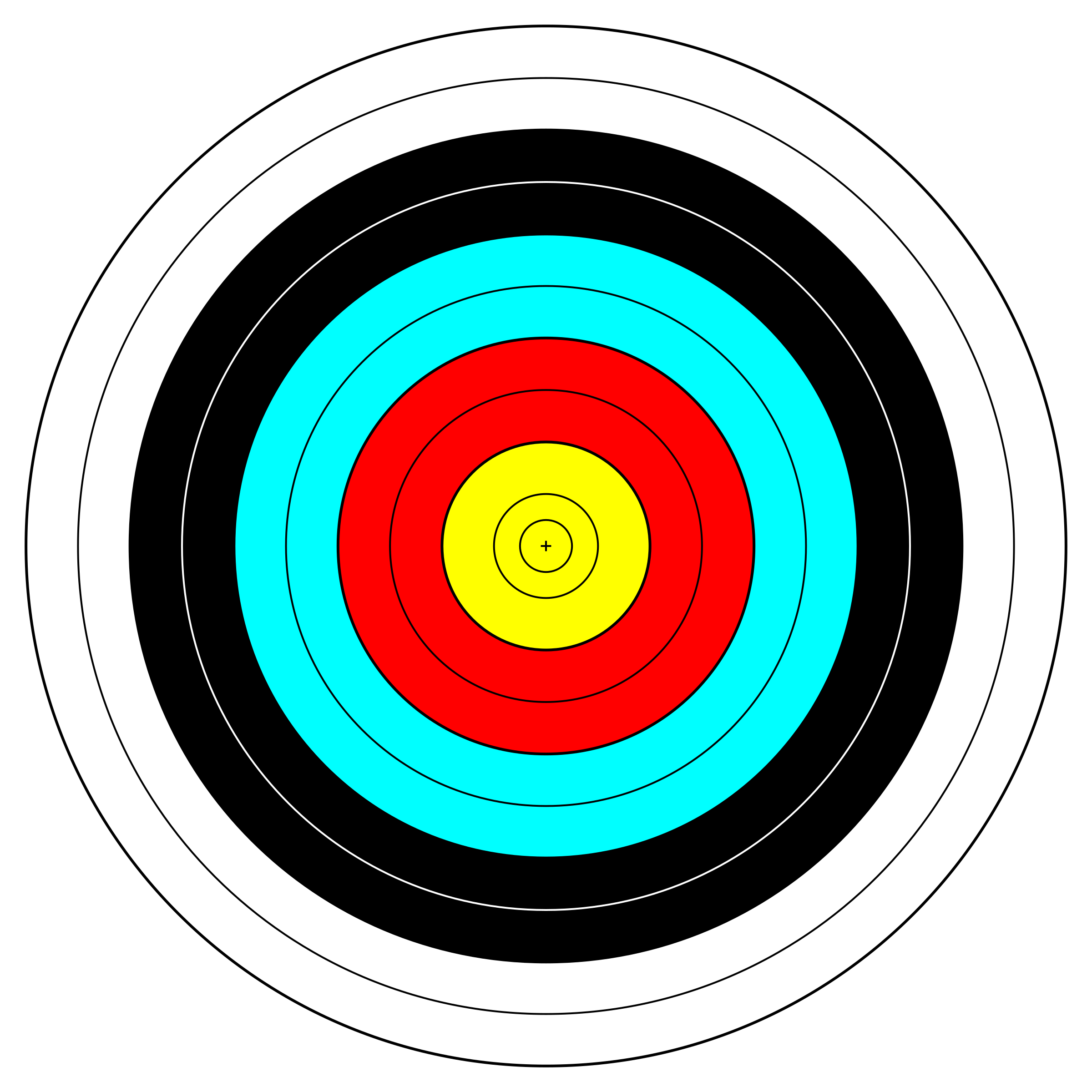 Clipart - FITA Official Face; archery target Archery Target Png