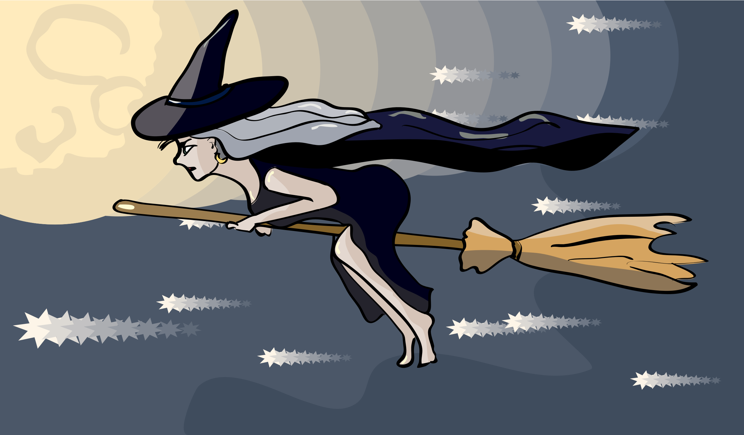 witch flying on a broom by OlKu