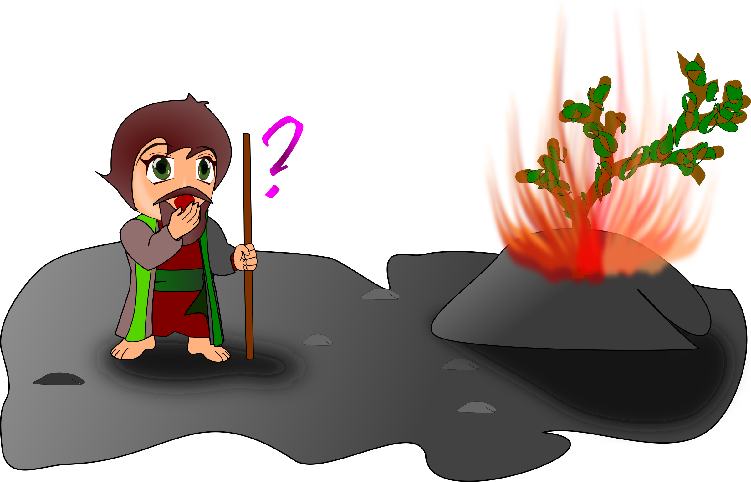 moses and the burning bush (chibi version) by wsnaccad