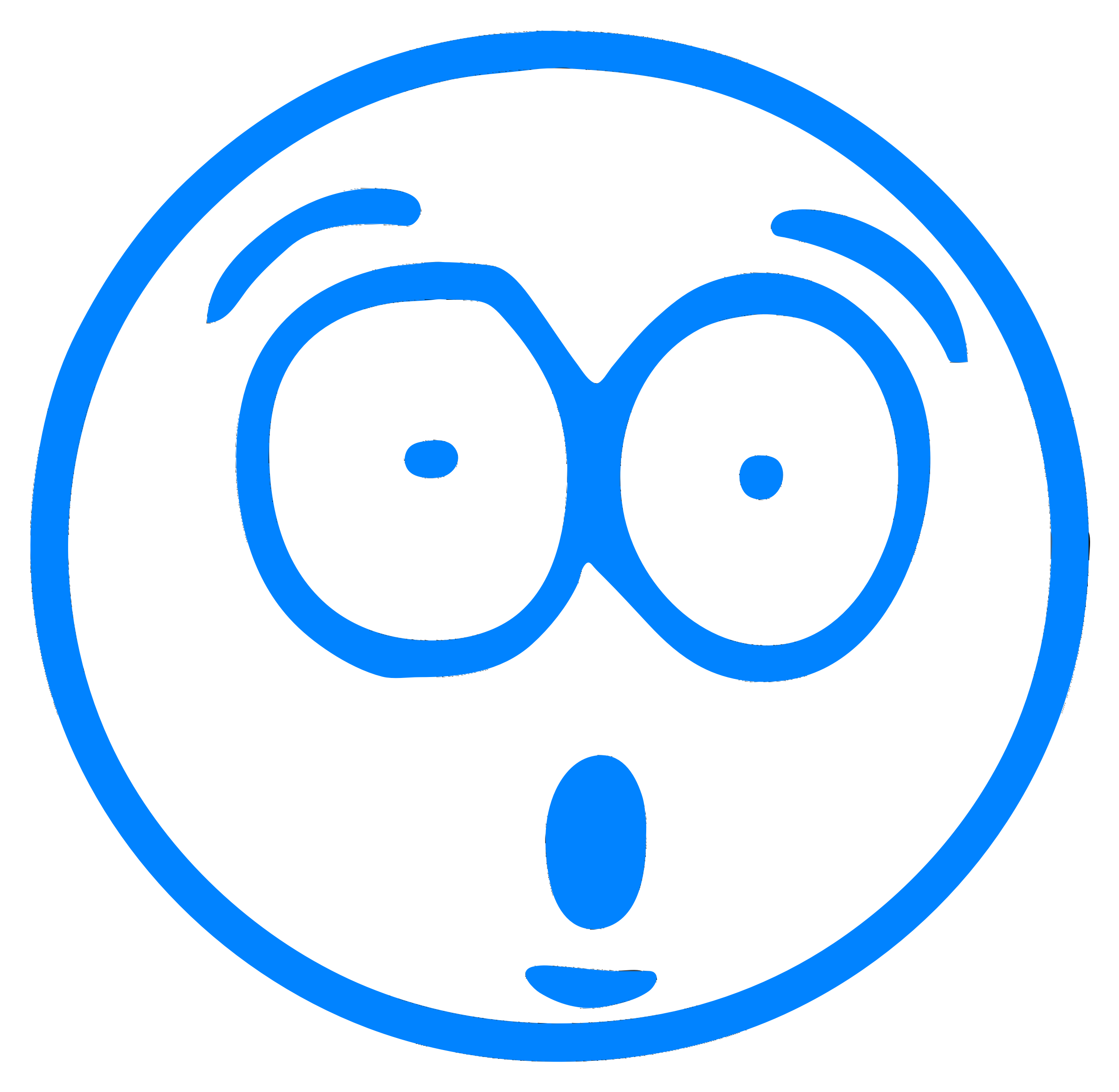 Blue surprised cartoon smiley by IslandVibz