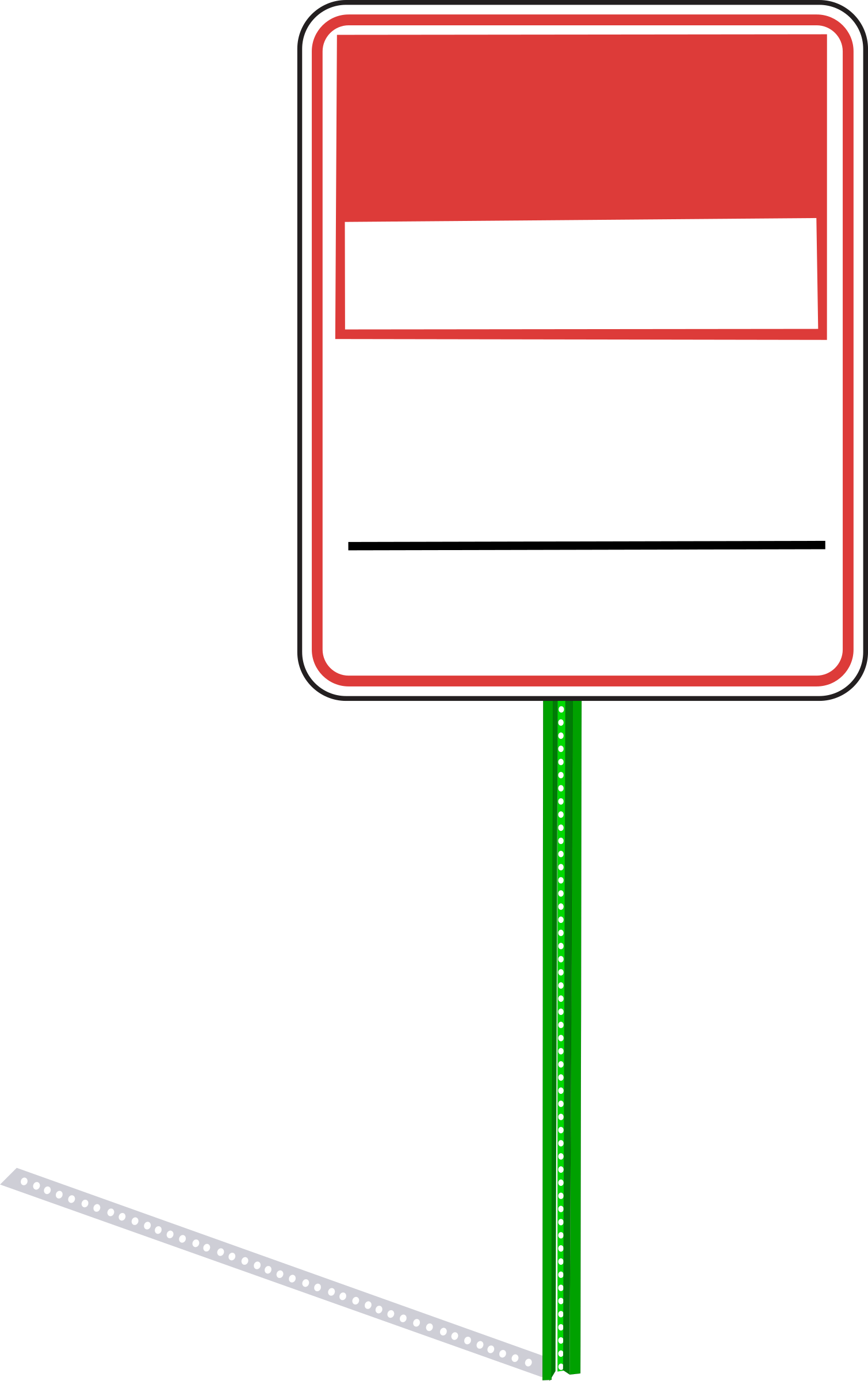 No dumping sign with signpost and shadow by Rfc1394