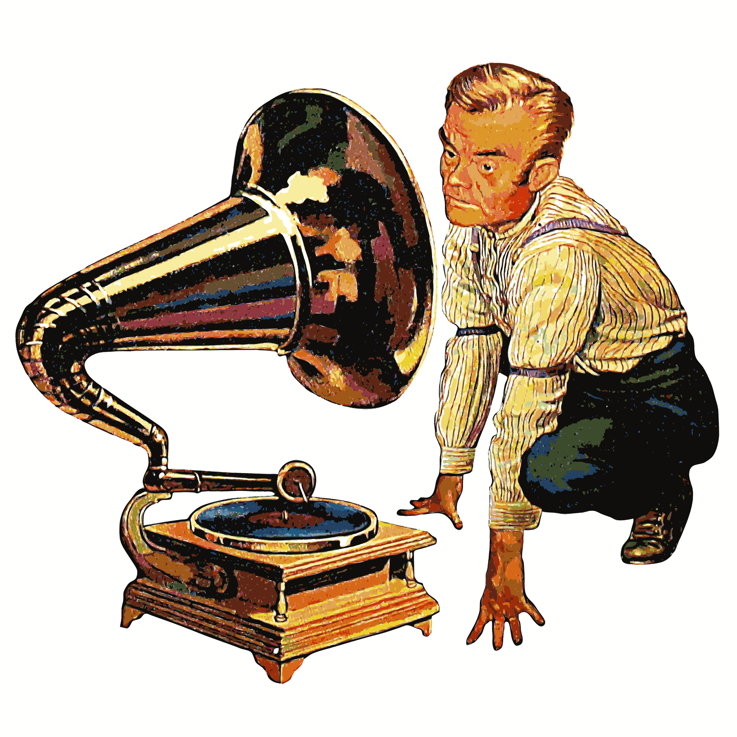 Clipart - Man listening to Gramophone Detailed