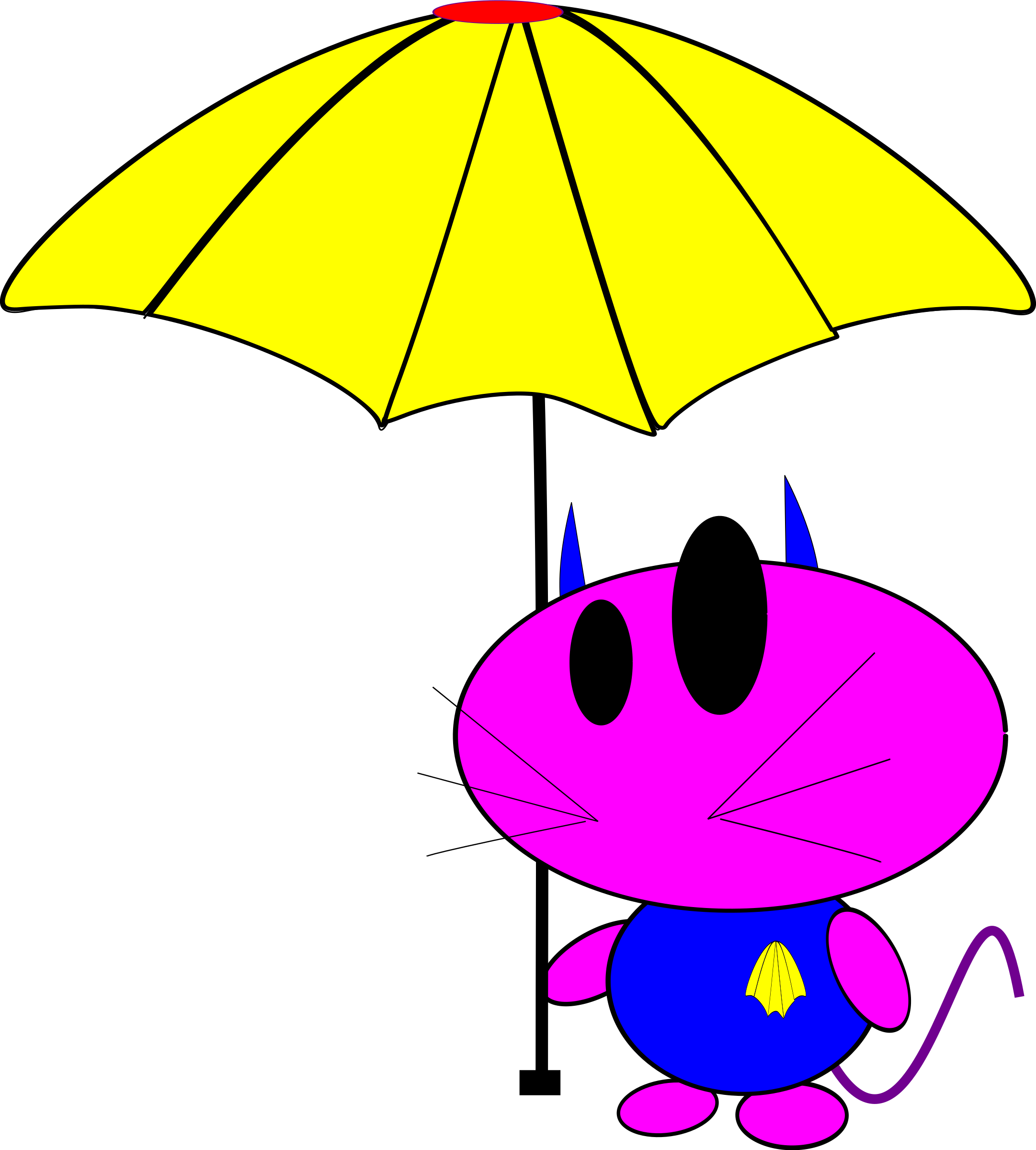 cat bo with umbrella by lkamming