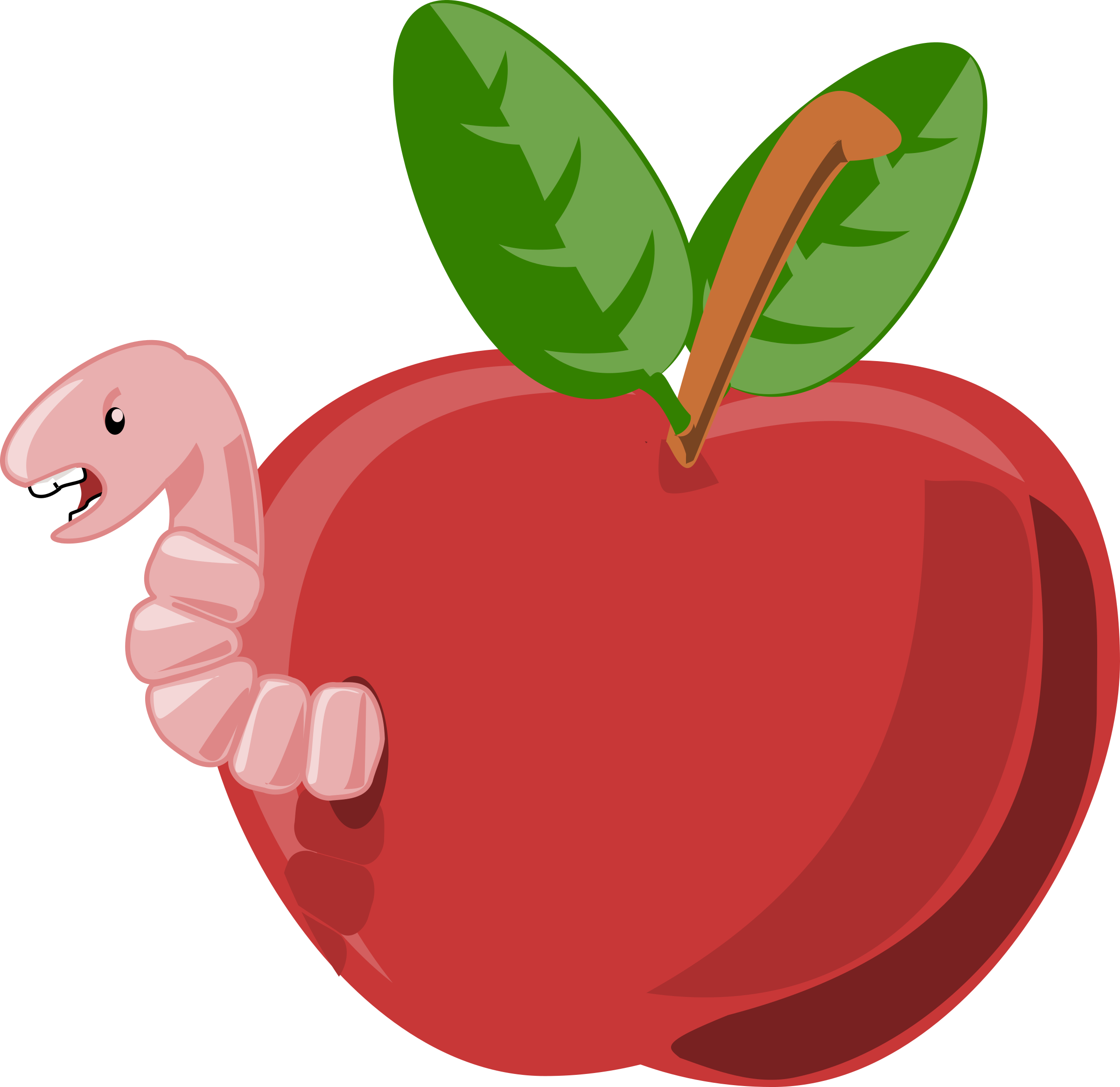 cartoon apple with worm by rg1024