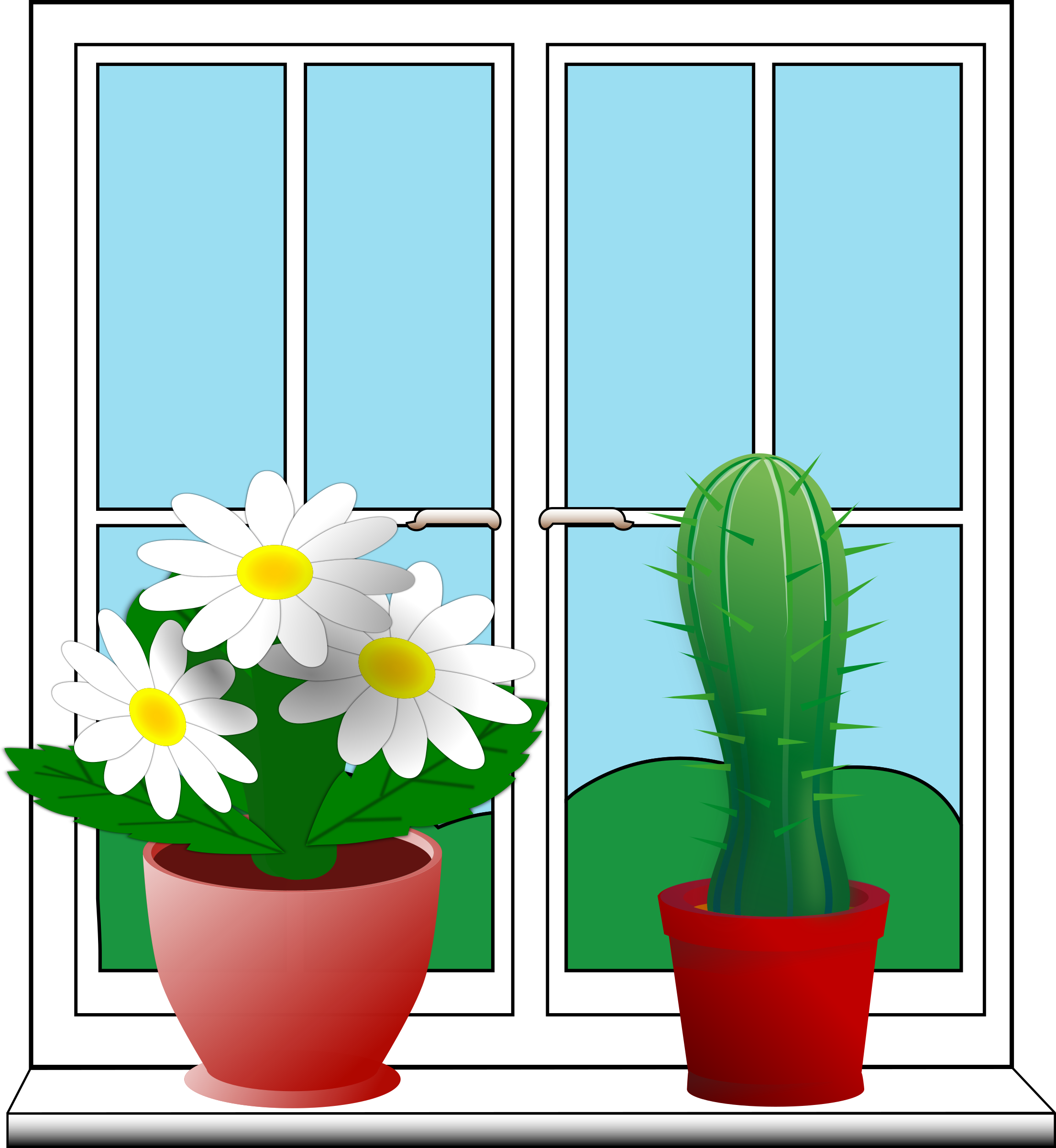 Window with potted plants by Moini