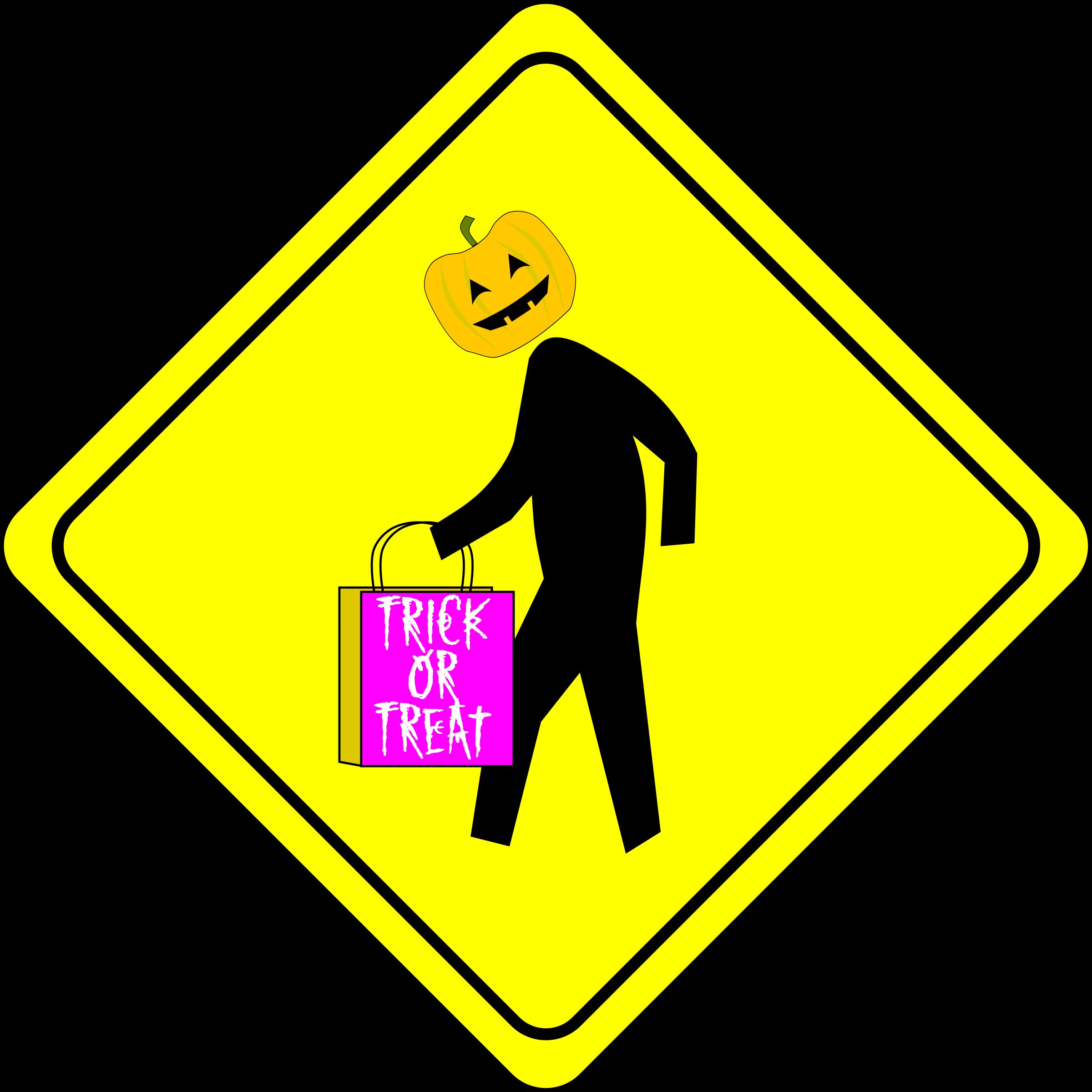 Halloween Pedestrian Caution Sign by algotruneman