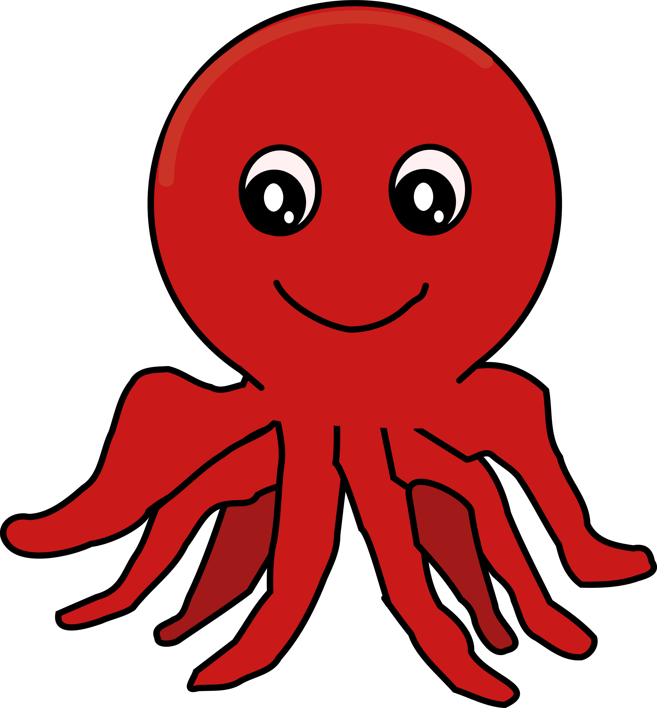 Clipart red cartoon octopus for Octopus in cartoon