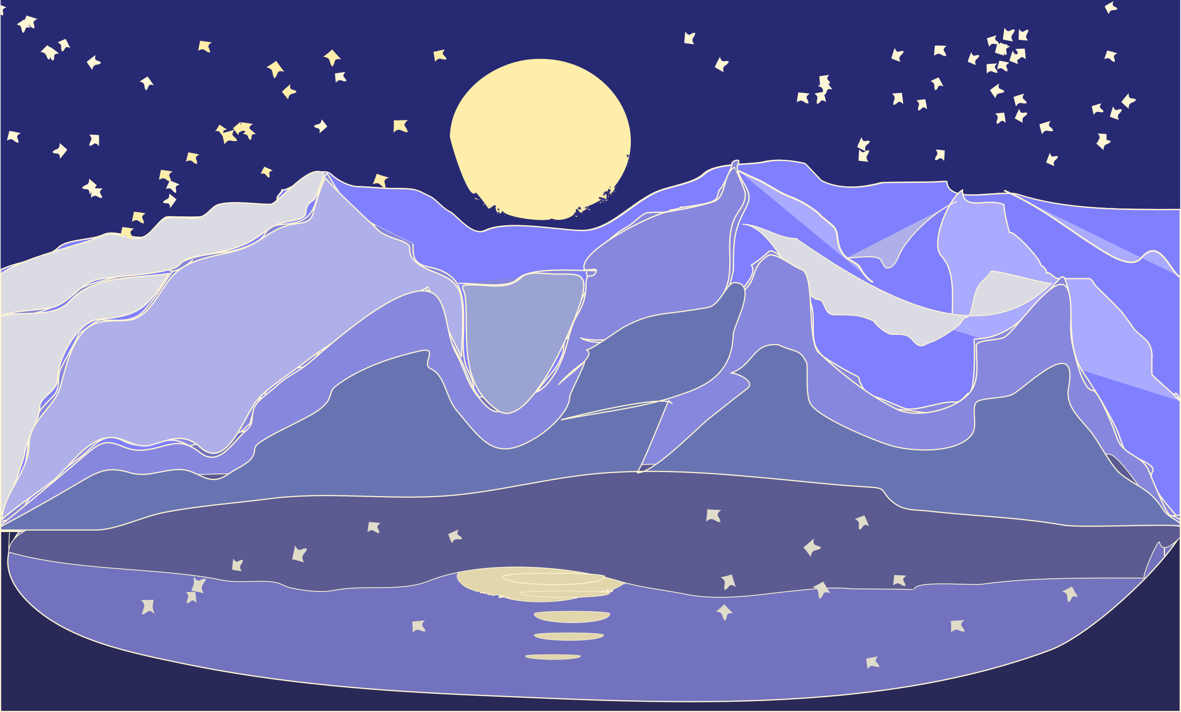 mountains night landscape by OlKu