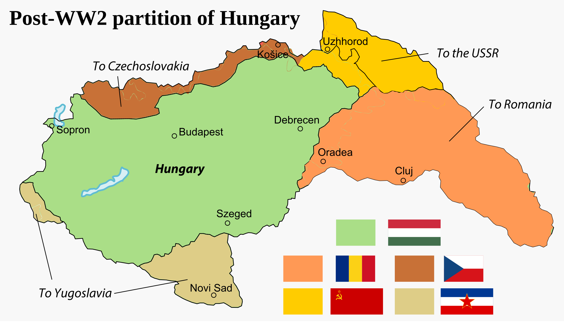 Partition of the Kingdom of Hungary after WW2, 1945. by derkommander0916