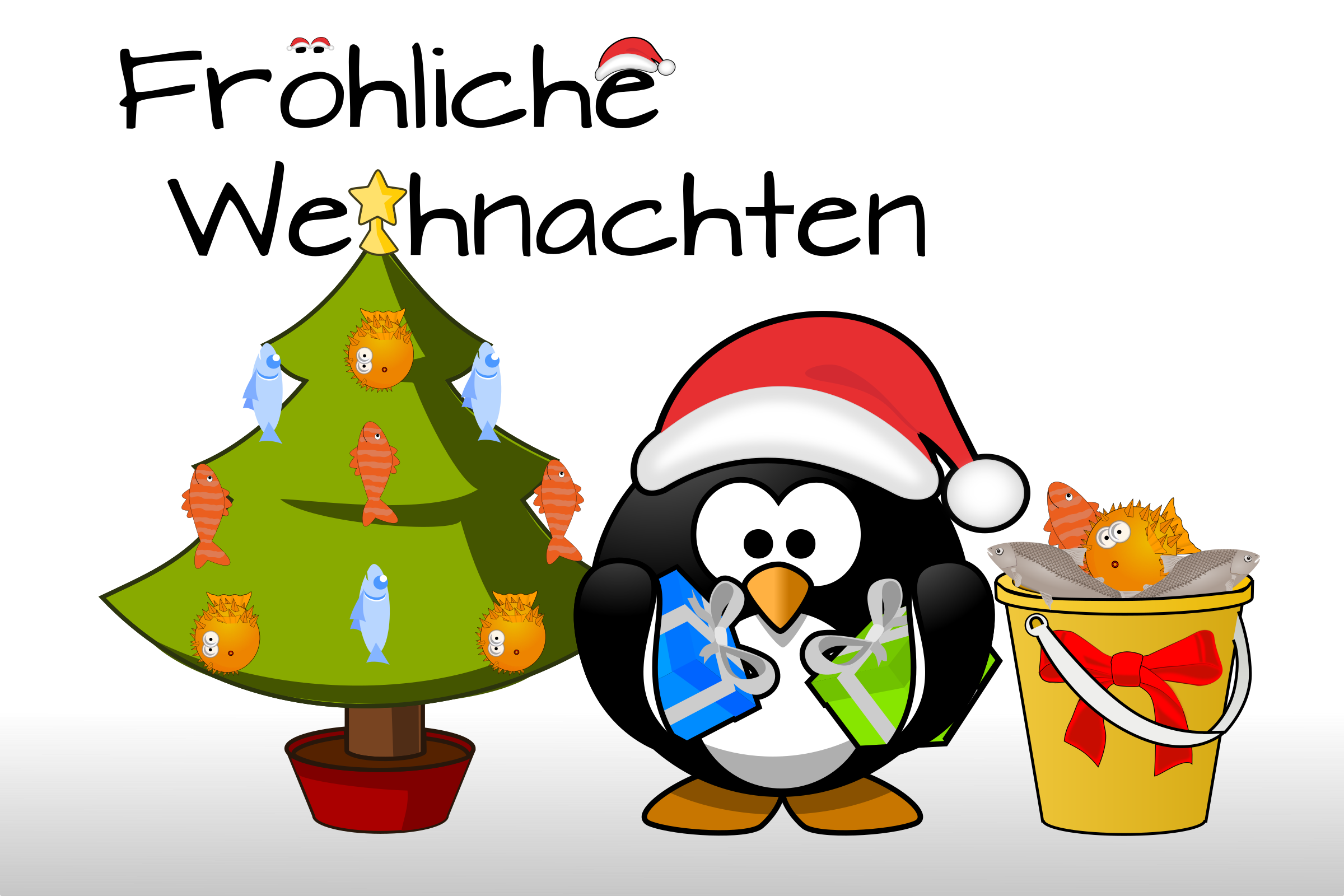 Penguin Xmas card (with heading as path) by dodger2