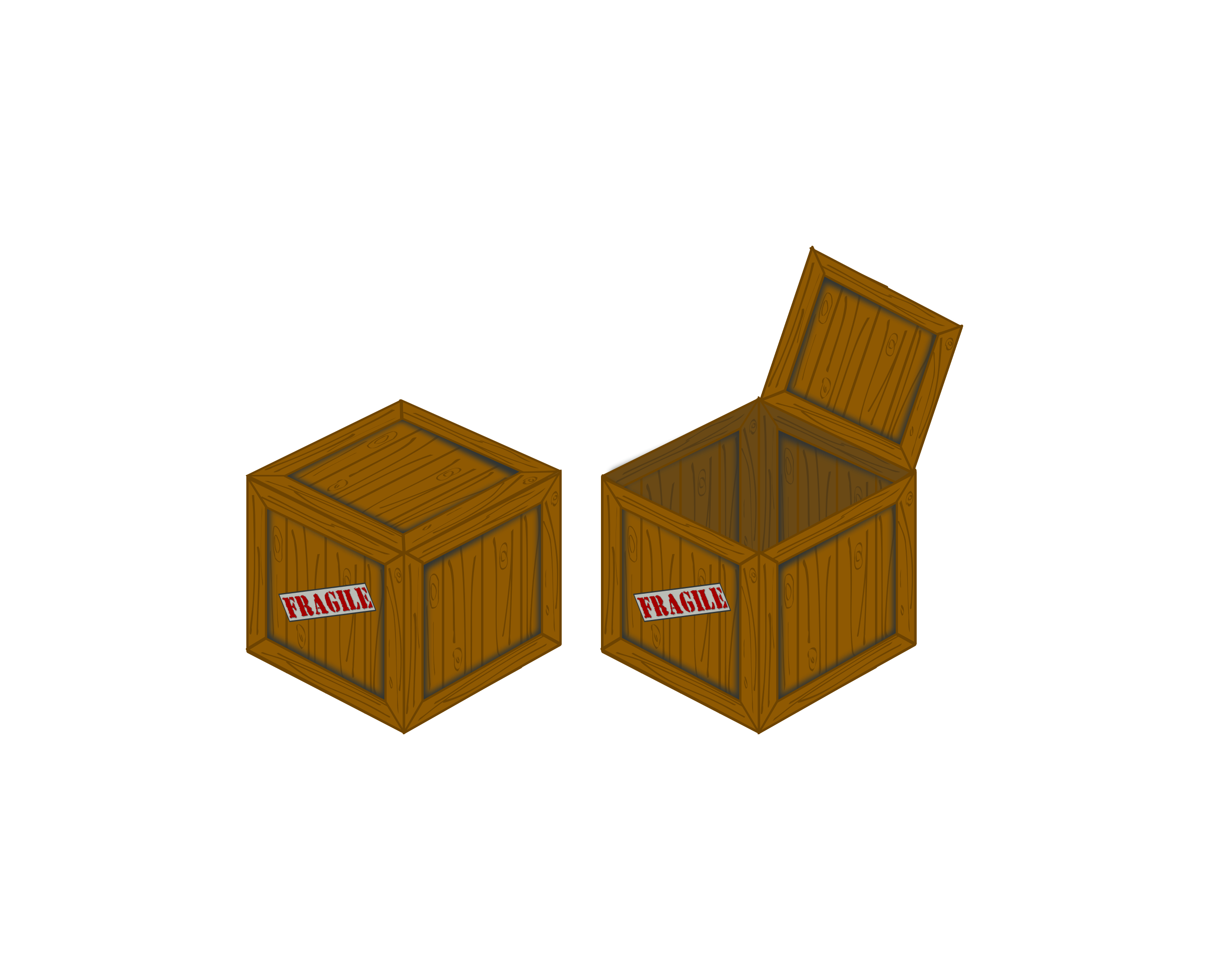 Closed and open perspective crate by snifty