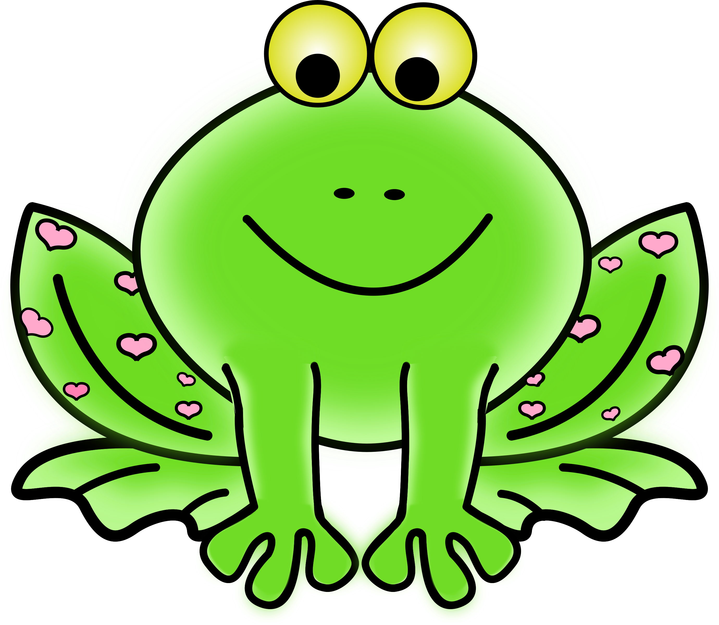 Green Valentine Frog with pink hearts by pixabella