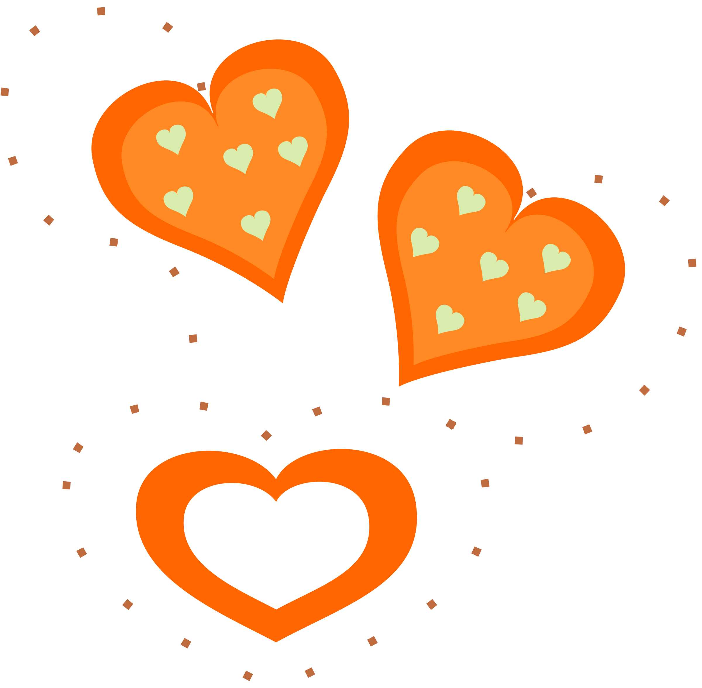 Valentine Orange Hearts by pixabella