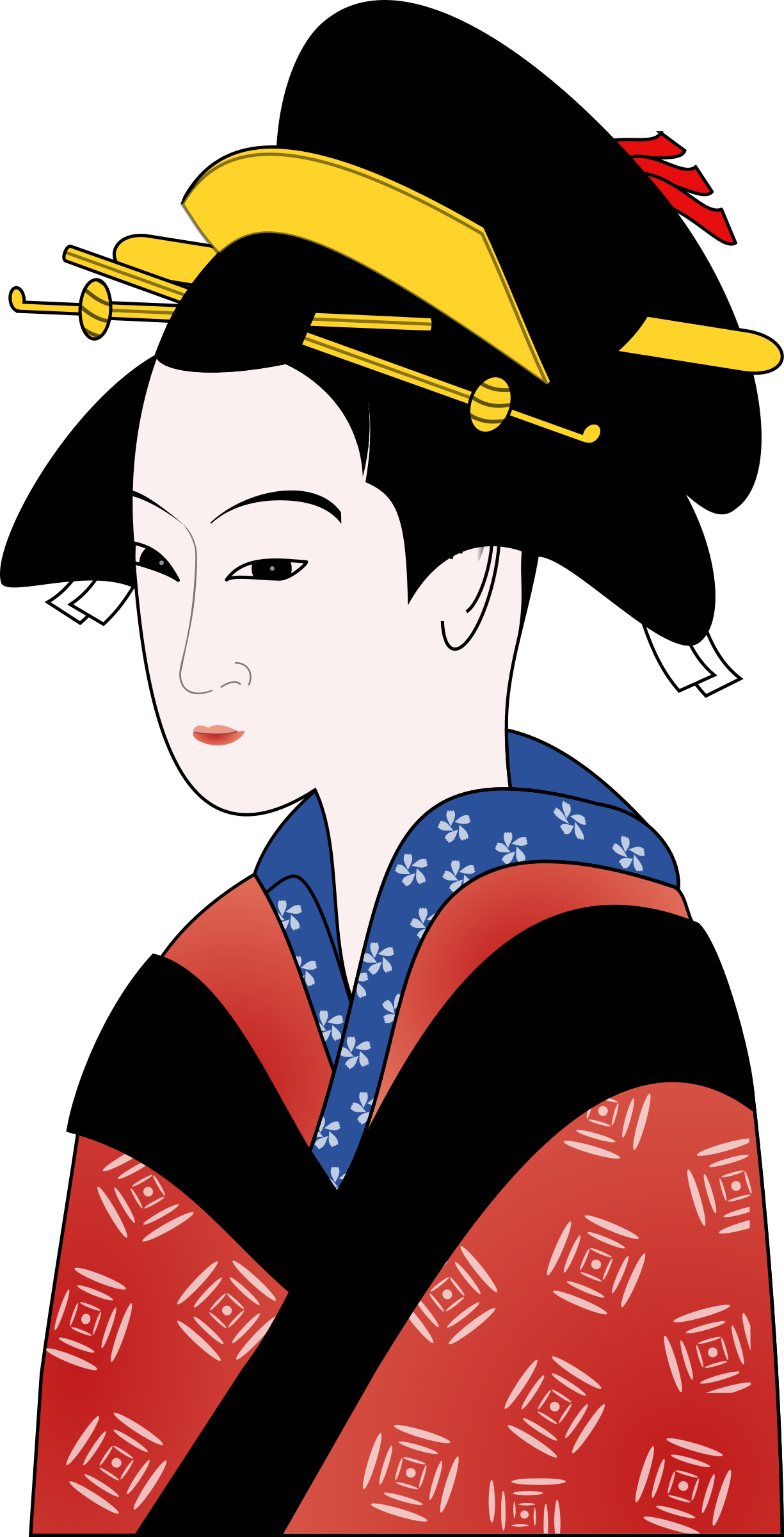 Woman in Kimono Simpler by qubodup