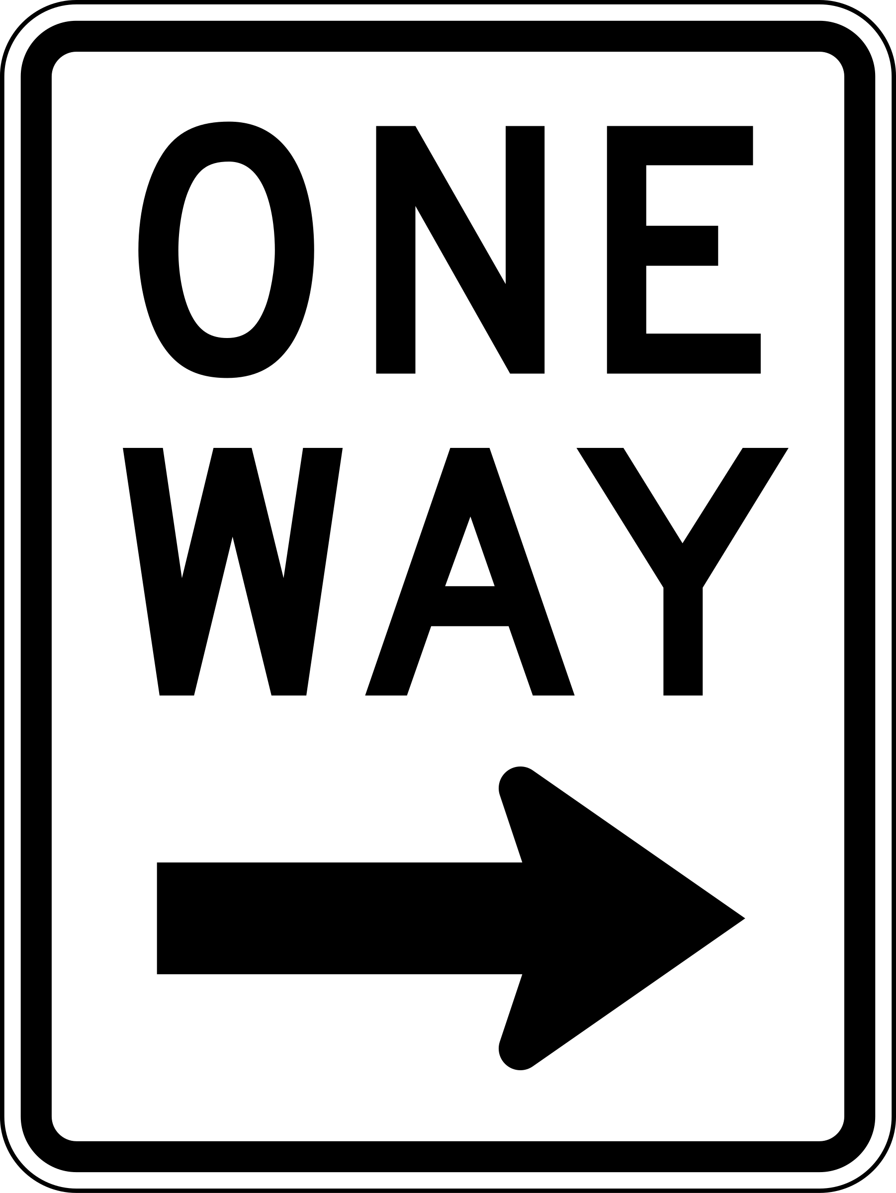 One Way Right traffic sign, vertical by Rfc1394