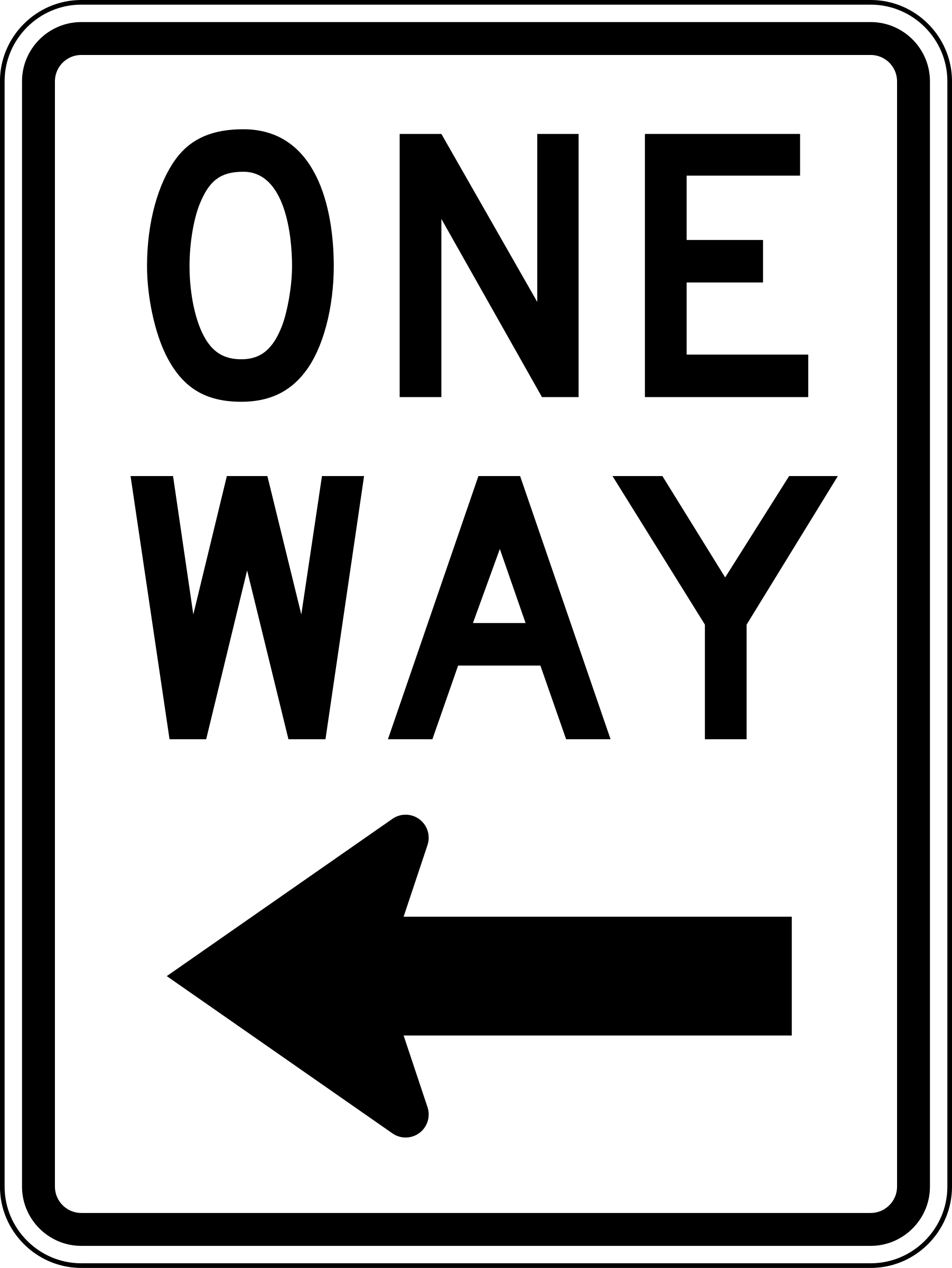 One Way Left traffic sign, vertical by Rfc1394