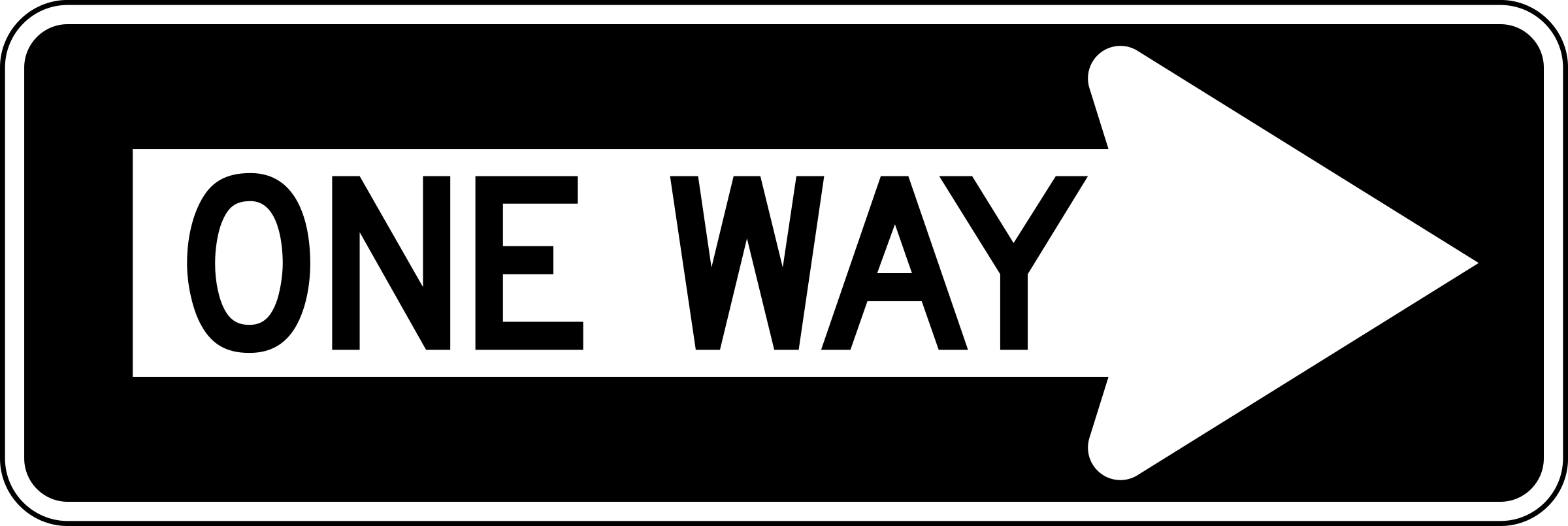 One Way Right traffic sign, horizontal by Rfc1394