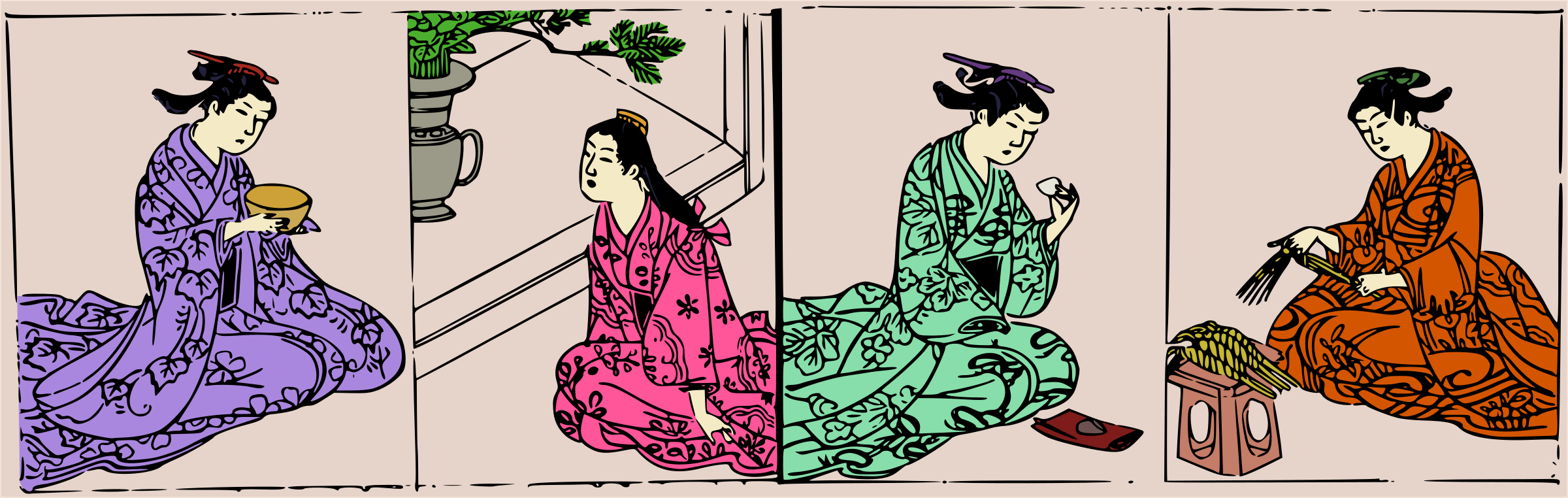 Four Kimono Ladies - Careful Colour by j4p4n