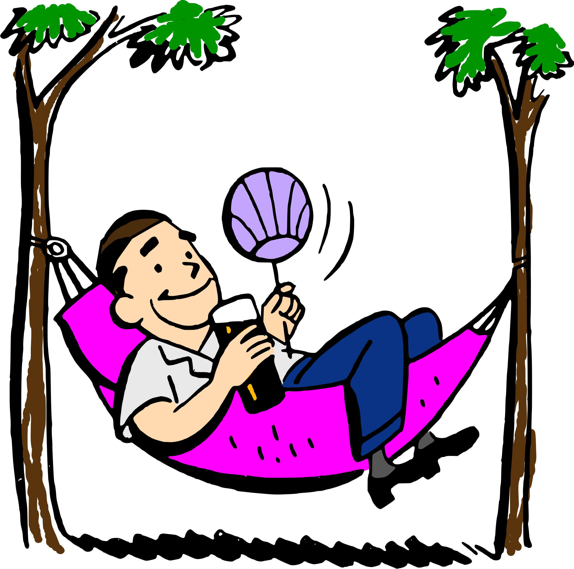 Clipart - Man in hammock (colored)
