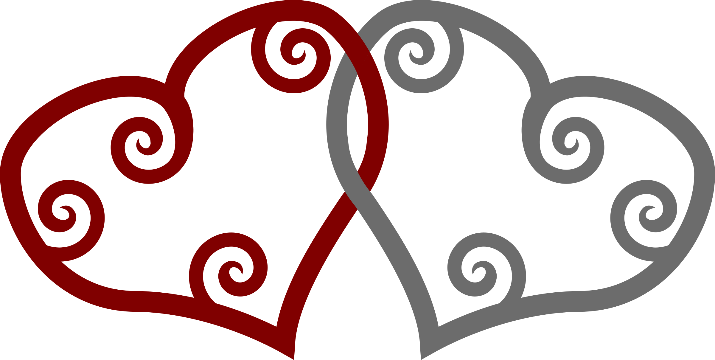 Clipart - Red & Silver Maori Hearts Interlinked
