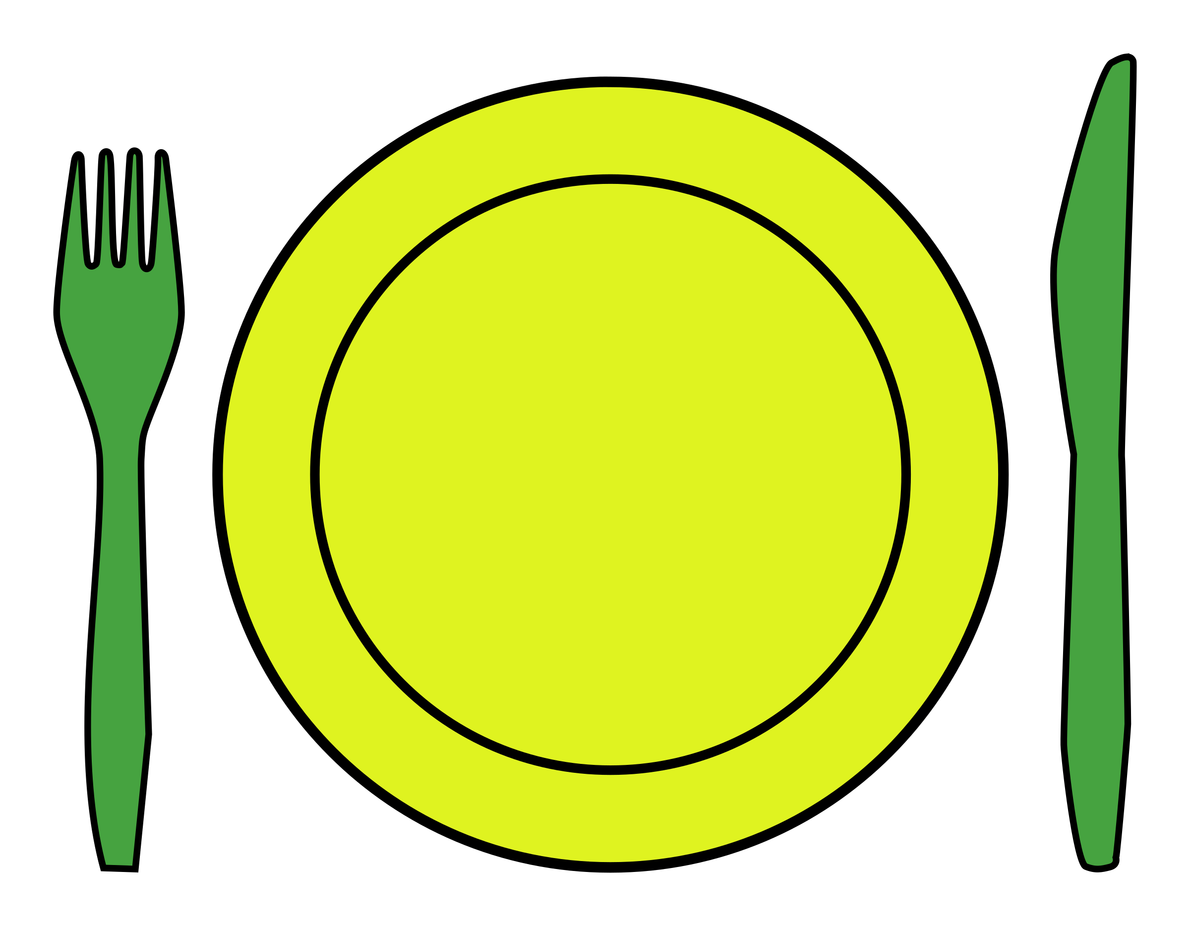 Clipart Dinner place setting : fork knife and plate from openclipart.org size 2400 x 1868 png 185kB