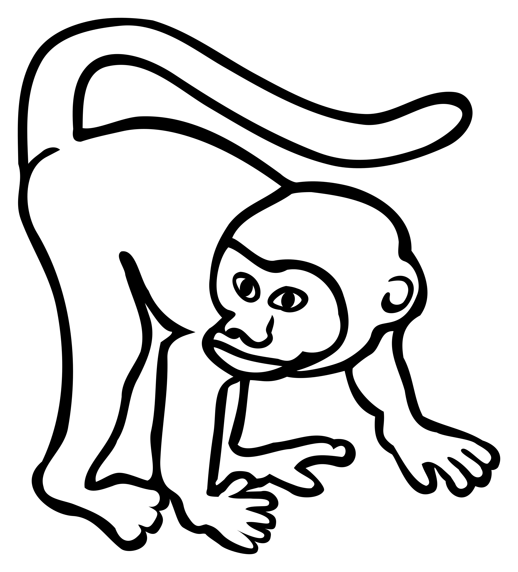 monkey - lineart by frankes