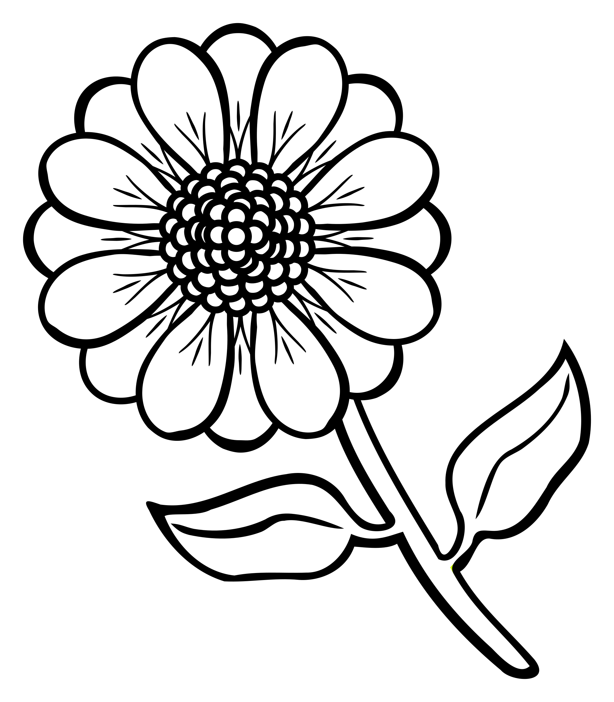 Flower In Line Drawing : Clipart flower lineart