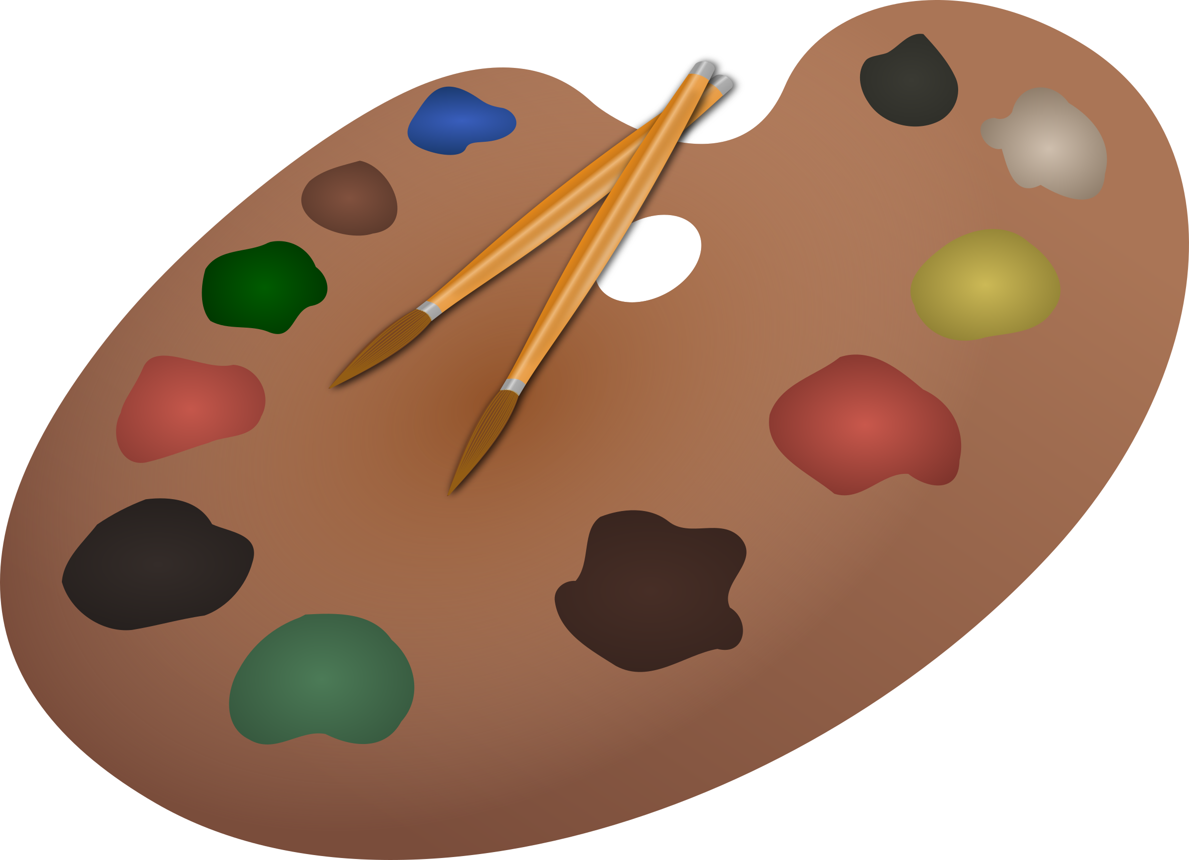 Palette and paintbrushes by cyberscooty