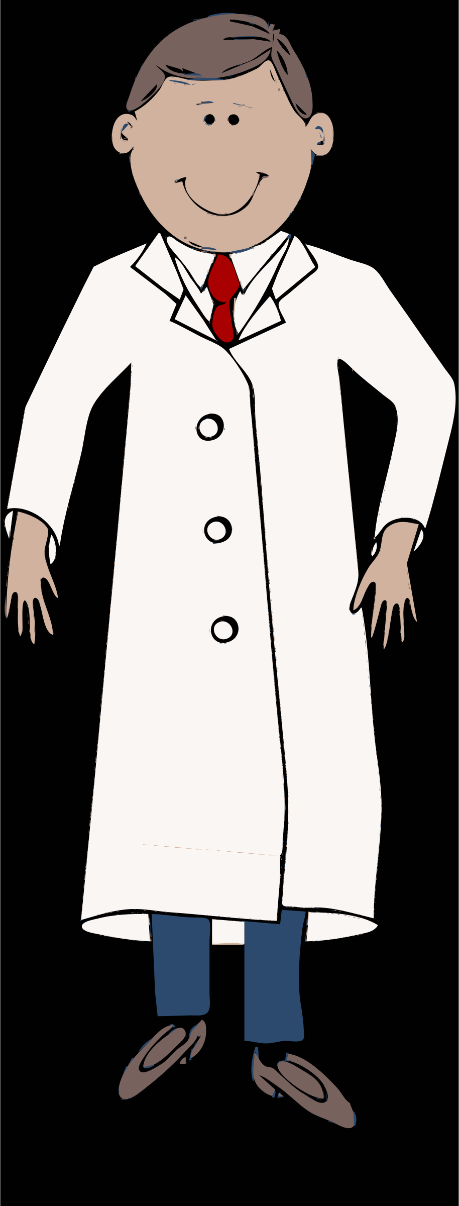 lab coat worn by scientist with red tie by barnheartowl