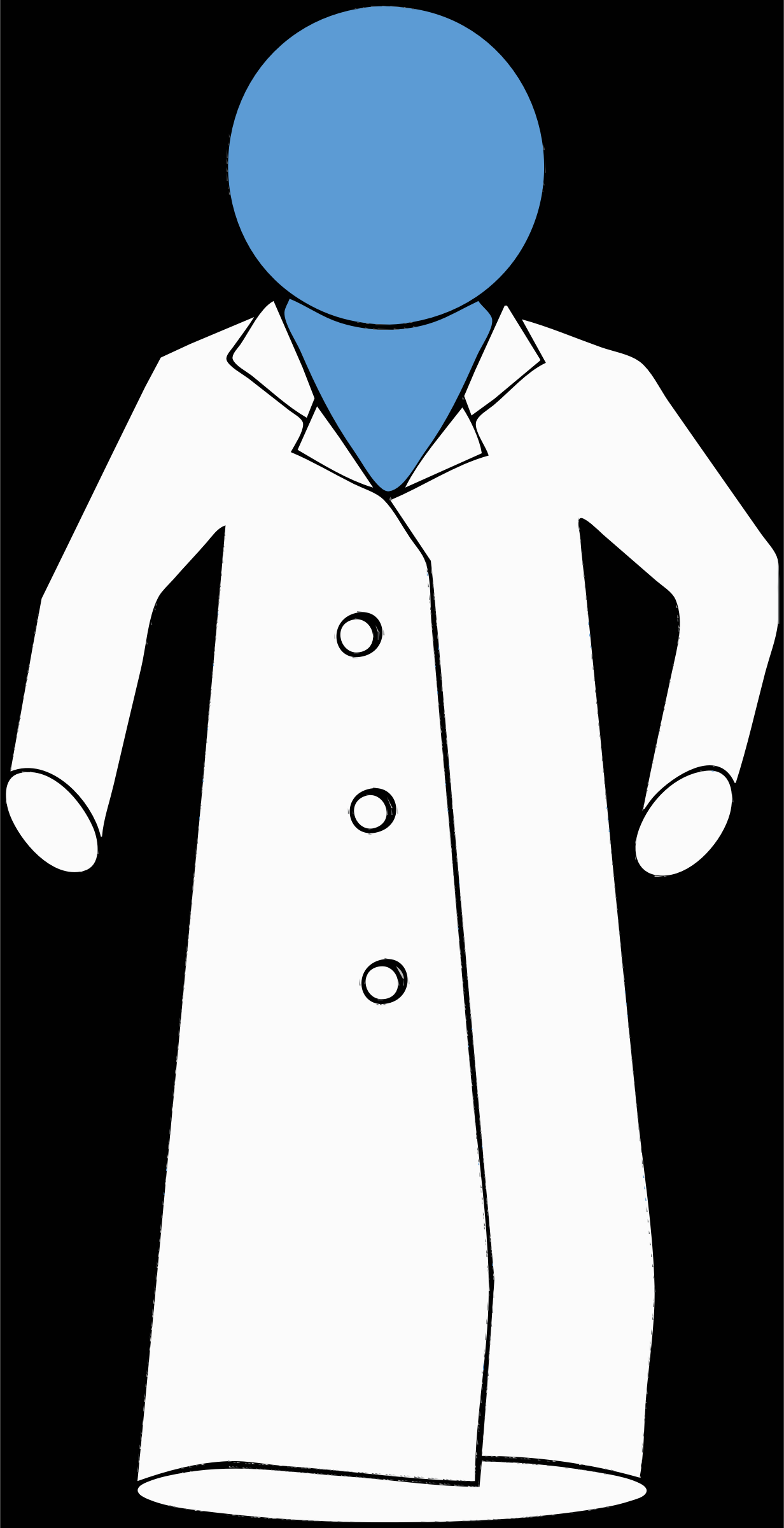 lab coat on blue figure by barnheartowl