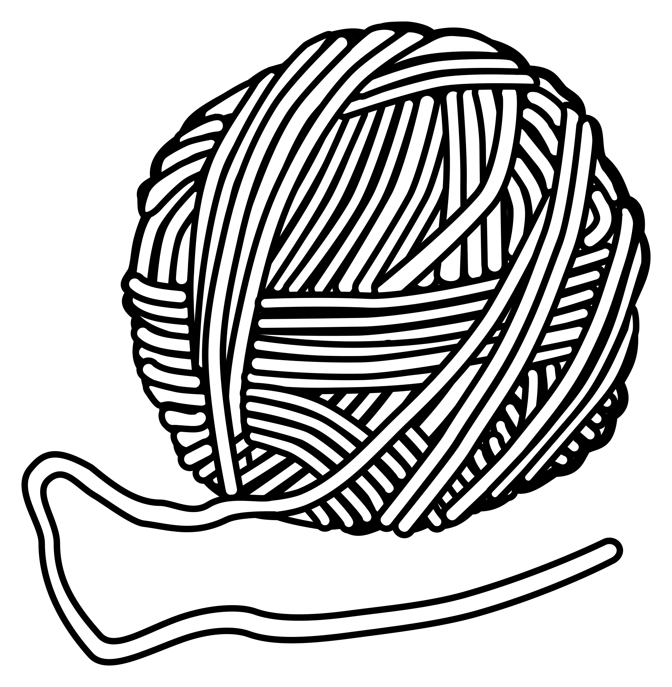 Yarn Clipart Black And White Clipart - wool - linea...